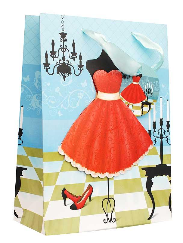 Пакет подарочный Красное платье, 18 х 8 х 24 смSCB390320Дизайнерский подарочный пакет Красное платье выполнен из плотной бумаги и оформлен ярким красочным рисунком и аппликацией. Дно изделия укреплено плотным картоном, который позволяет сохранить форму пакета и исключает возможность деформации дна под тяжестью подарка. Для удобной переноски на пакете имеются две атласные ручки.Подарок, преподнесенный в оригинальной упаковке, всегда будет самым эффектным и запоминающимся. Окружите близких людей вниманием и заботой, вручив презент в нарядном, праздничном оформлении.