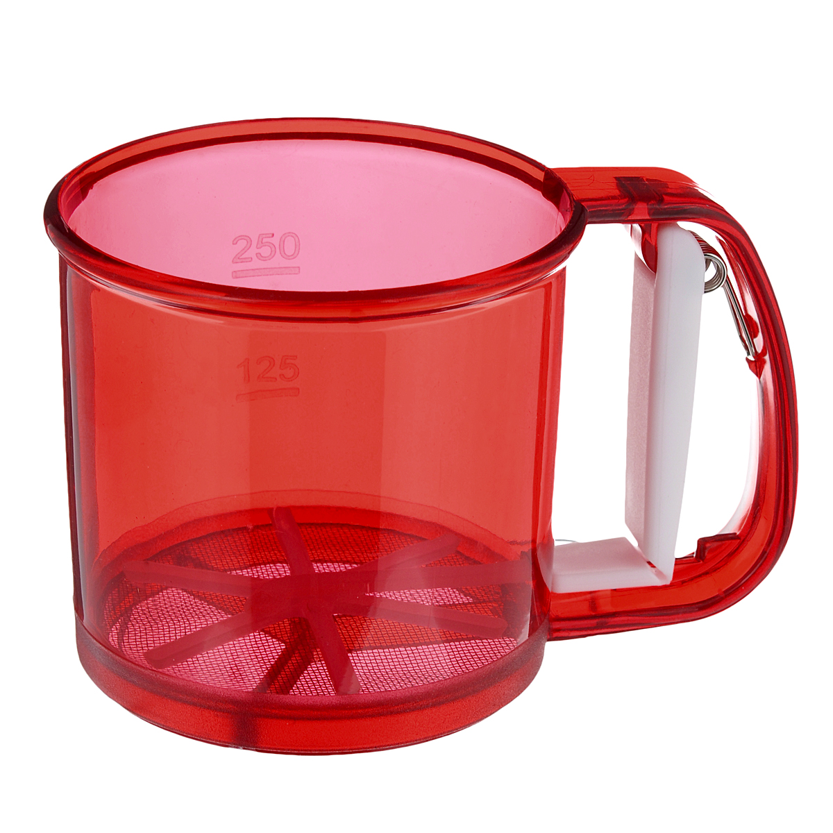 Кружка-сито Аква, цвет: красный, 250 г115510Кружка-сито Аква изготовлена из высококачественного пластика и нержавеющей стали. Удобный механизм с рычагом на ручке позволяет быстро и эффективно просеивать муку. Кружка-сито Аква станет достойным дополнением к коллекции кухонных аксессуаров.Диаметр (по верхнему краю): 10,5 см.Высота: 9,5 см.Объем: 250 г.