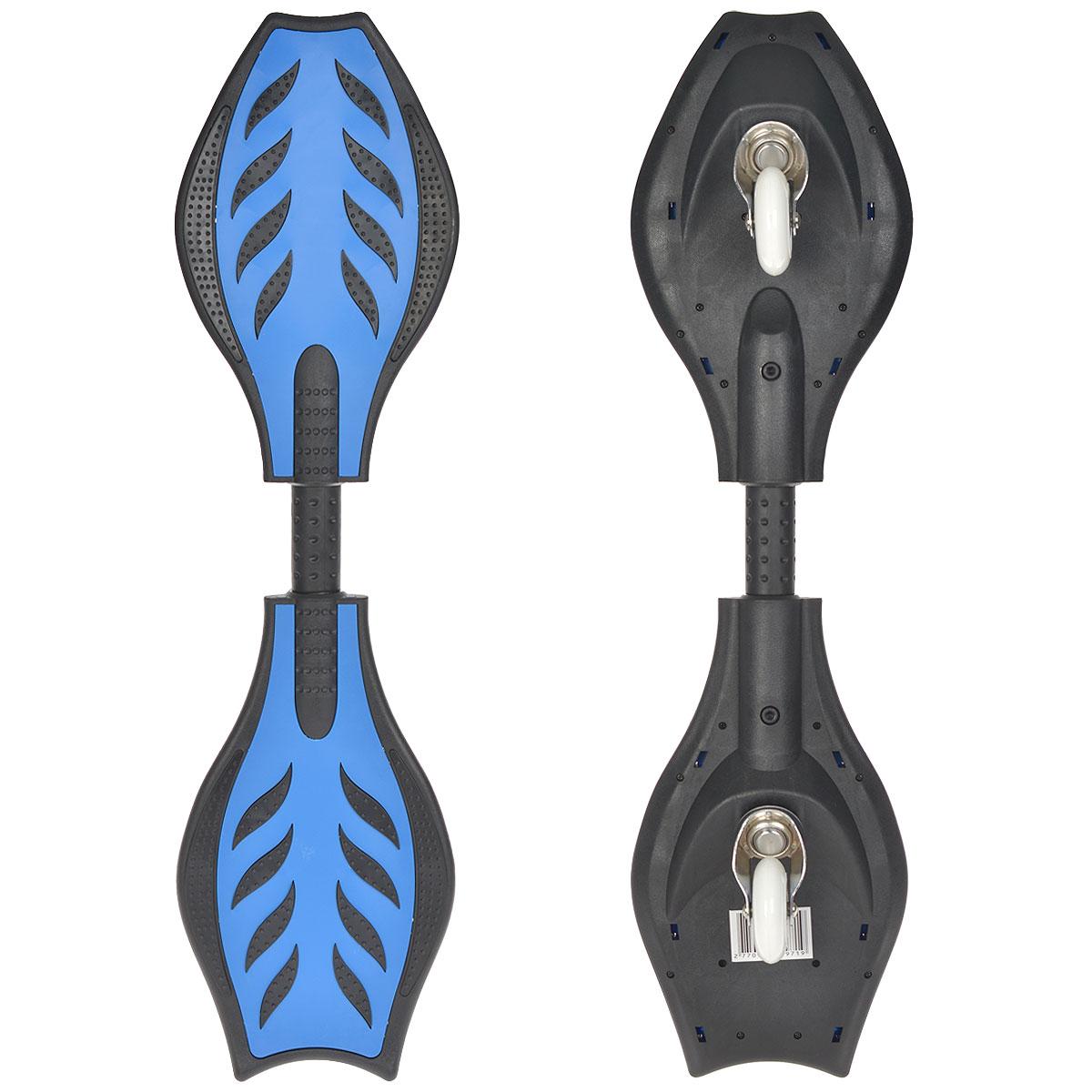 Свингборд HelloWood, цвет: синий. HW-B-504WRA523700Свингборд HelloWood - это доска на маленьких колесах, причем колеса у нее всего два - спереди и сзади по одному. Они имеют запатентованную систему вращения, которая позволяет выполнять экстремальные трюки и почувствовать легкость и скорость движения. Единственное, кататься на свингборде не так просто, но если вы научитесь, то уже не сможете отказаться от этого развлечения!