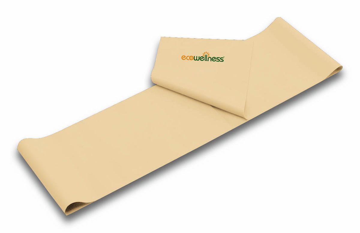 Лента для аэробики Ecowellness, цвет: бежевый, толщина 0,35 мм. QB-102G3-3526800Лента Ecowellness выполнена из высококачественного латекса, предназначена для занятий аэробикой и идеально подходит для укрепления верхней и нижней части тела. Это полноценный компактный тренажер,который удобно брать с собой в дорогу. Размер: 120 см х 15 см.Толщина: 0,35 мм.
