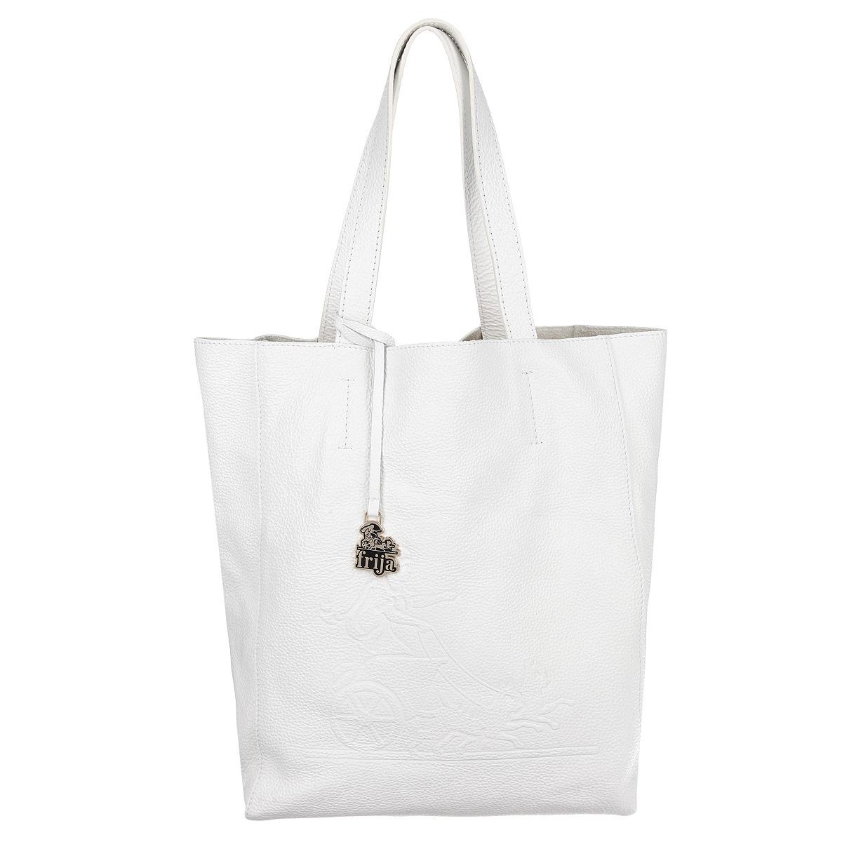 Сумка женская Frija, цвет: белый. 21-0200-1310931-1Стильная и удобная женская сумка Frija выполнена из мягкой натуральной кожи с фактурной поверхностью. Лицевая сторона изделия оформлена оригинальным тиснением в виде логотипа бренда. Сумка имеет одно вместительное отделение, дополненное накладным карманом на застежке-молнии. Изюминка модели - текстильный вкладыш в главном отделении, который крепится к корпусу сумки при помощи кнопок, закрывается на удобную застежку-молнию. Внутри вкладыша - врезной карман на застежке-молнии.Сумка оснащена двумя удобными ручками, позволяющими носить её на плече.Изделие упаковано в фирменный чехол. Сумка Frija - это стильный аксессуар, который подчеркнет вашу изысканность и индивидуальность и сделает ваш образ завершенным.