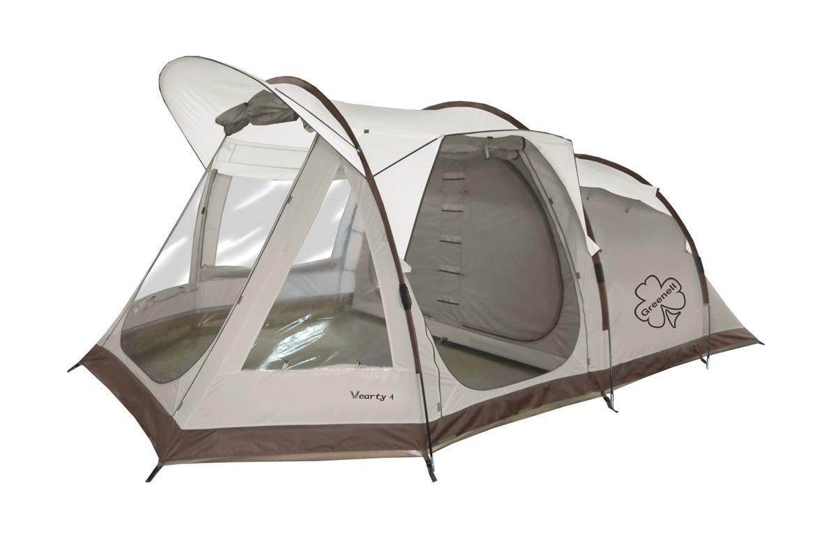 GREENELL Палатка Вэрти 4, цвет: коричневый. Арт.9547095470-230-00Четырехместная палатка, в виде полубочки, с полностью герметичным полом. Система Антимоскит. Современная конструкция с великолепным обзором и отличной вентиляцией. Два входа, два спальных отделения разделенных тканевой перегородкой. Новая верхняя ткань со специальной пропиткой защищает от ультрафиолета до 90% (UPF 50+)и препятствует распространению огня.