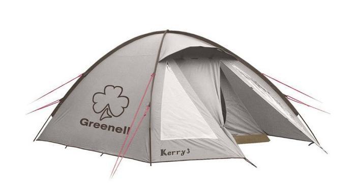 GREENELL Палатка Керри 3 V3, цвет: коричневый. Арт.9551225543-303-00Наличие внешних дуг позволяет сохранять внутреннюю палатку сухой, при установке во время дождя. Увеличенный тамбур с прозрачными окнами, противомоскитная сетка, все швы проклеены. Тент можно устанавливать отдельно. Новая верхняя ткань со специальной пропиткой защищает от ультрафиолета до 90% (UPF 50+) и препятствуют распространению огня.