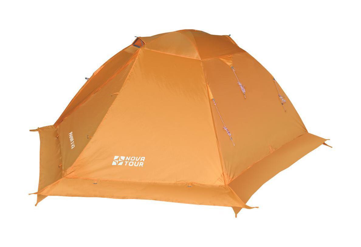 NOVA TOUR Палатка Памир 3 V2, цвет: оранжевый. Арт.955019126.4101Классическая туристическая трехместная палатка с повышенной ветроустойчивостью. Дополнительные оттяжки со светоотражающими нитями, усиленный каркас, ветрозащитная юбка. Два тамбура с независимыми входами, добавляют комфорта, а антимоскитные сетки и эффективная система сквозной вентиляции жилой зоны, ослабляют возникновение конденсата.Яркий цвет делает палатку более заметной в условиях плохой видимости. Все технологические решения проверены годами успешной эксплуатации.