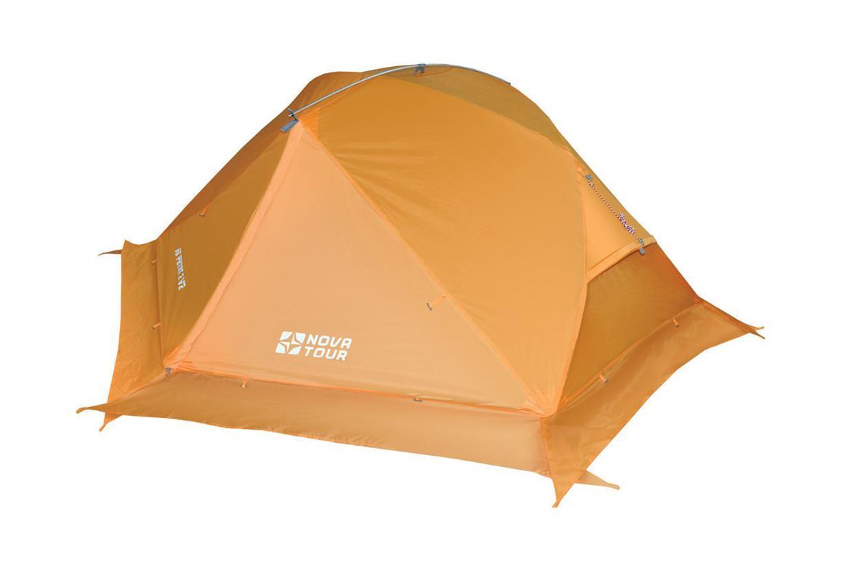 NOVA TOUR Палатка Ай Петри 2 V2, цвет: оранжевый. Арт.9541467742Палатка специально разработана для горного и пешеходного туризма.Она легкая, износостойкая.Для дополнительной термоизоляции используется юбка.Юбку также можно поднять в теплую погоду.