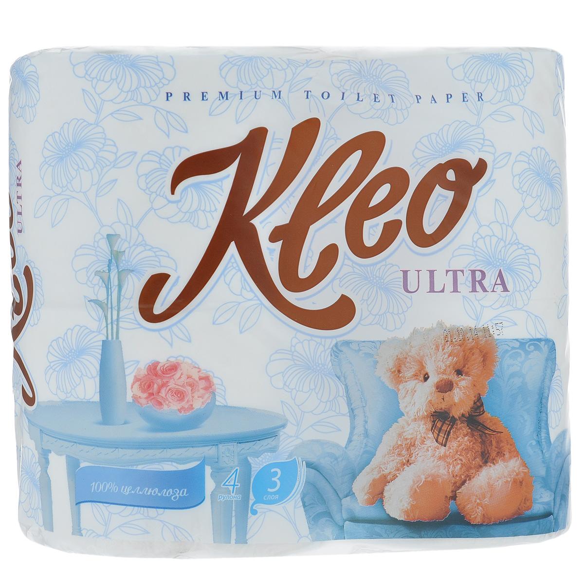 Туалетная бумага Kleo Ultra, трехслойная, цвет: белый, 4 рулона391602Туалетная бумага Kleo Ultra, выполненная из натуральной целлюлозы, обеспечивает превосходный комфорт и ощущение чистоты и свежести. Необыкновенно мягкая, но в тоже время прочная, бумага не расслаивается и отрывается строго по линии перфорации. Трехслойные листы имеют рисунок с перфорацией.Количество листов: 168 шт. Количество слоев: 3. Размер листа: 12,5 см х 9,6 см. Состав: 100% целлюлоза.