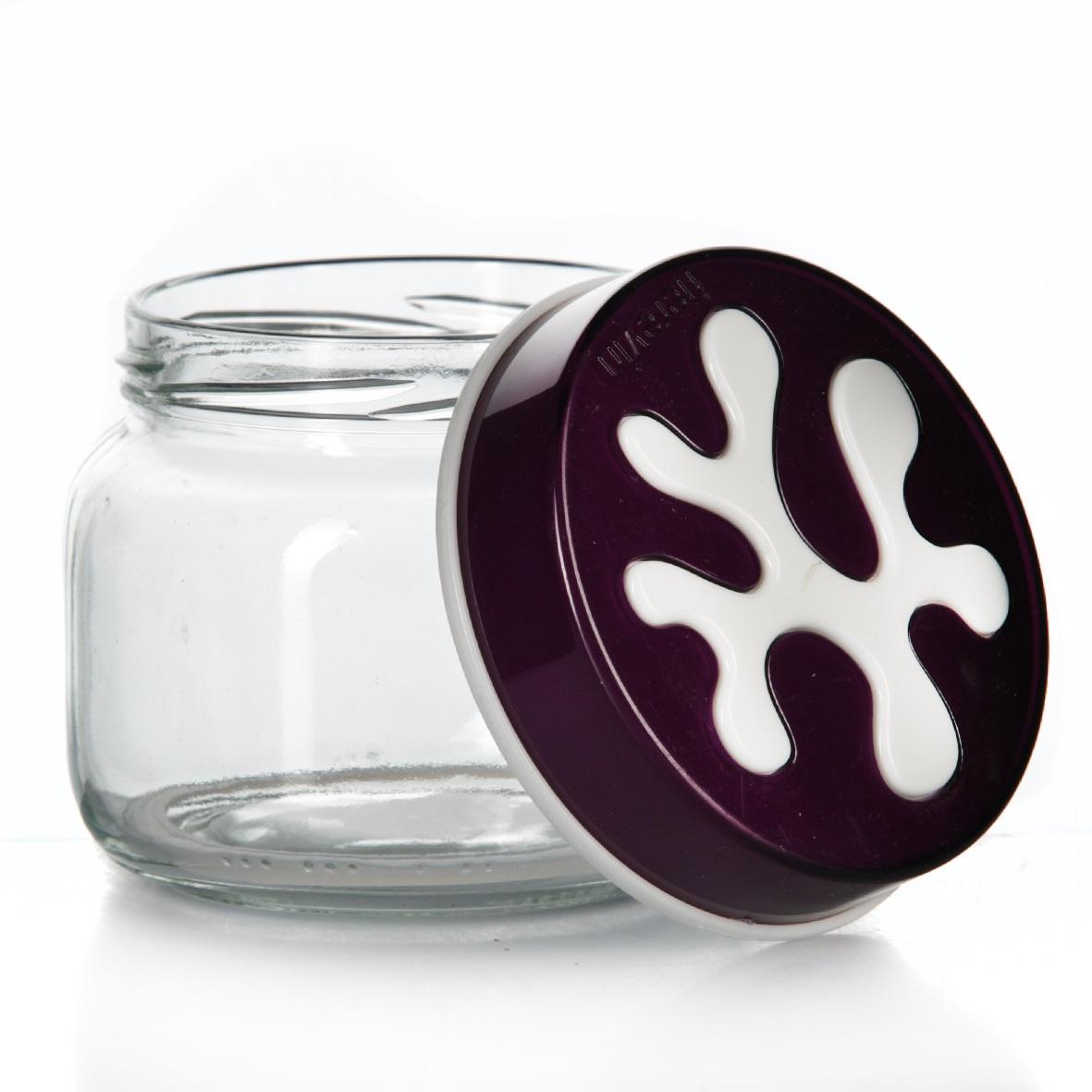Банка для сыпучих продуктов Herevin, цвет: фиолетовый, 400 мл. 135357-0034630003364517Банка для сыпучих продуктов Herevin изготовлена из прочного стекла и оснащена плотно закрывающейся пластиковой крышкой. Благодаря этому внутри сохраняется герметичность, и продукты дольше остаются свежими. Изделие предназначено для хранения различных сыпучих продуктов: круп, чая, сахара, орехов и т.д. Функциональная и вместительная, такая банка станет незаменимым аксессуаром на любой кухне. Можно мыть в посудомоечной машине. Пластиковые части рекомендуется мыть вручную.Объем: 400 мл.Диаметр (по верхнему краю): 7,5 см.Высота банки (без учета крышки): 8 см.