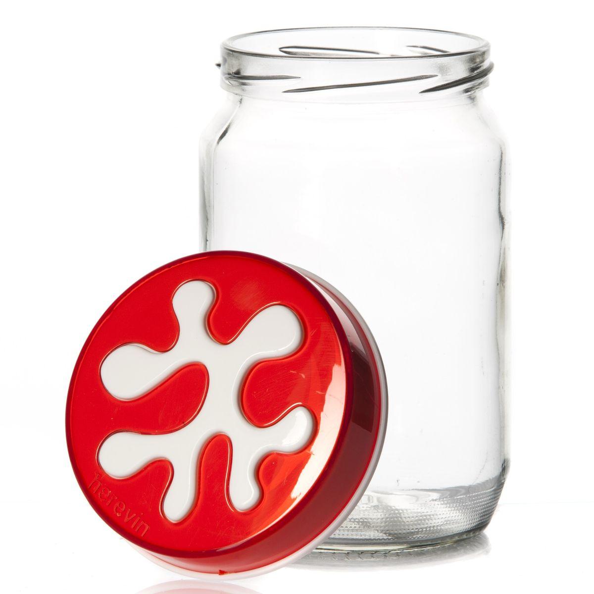 Банка для сыпучих продуктов Herevin, цвет: красный, 720 мл. 135367-007Ветерок-2 У_6 поддоновБанка для сыпучих продуктов Herevin изготовлена из прочного стекла и оснащена плотно закрывающейся пластиковой крышкой. Благодаря этому внутри сохраняется герметичность, и продукты дольше остаются свежими. Изделие предназначено для хранения различных сыпучих продуктов: круп, чая, сахара, орехов и т.д. Функциональная и вместительная, такая банка станет незаменимым аксессуаром на любой кухне. Можно мыть в посудомоечной машине. Пластиковые части рекомендуется мыть вручную.Объем: 720 мл.Диаметр (по верхнему краю): 7,5 см.Высота банки (без учета крышки): 14 см.