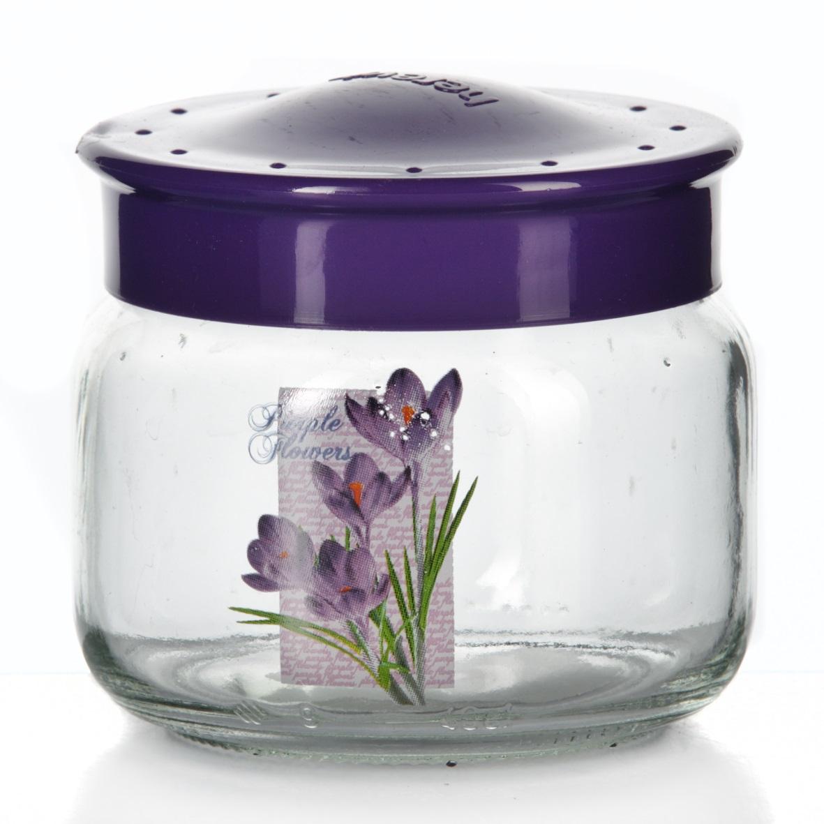 Банка для сыпучих продуктов Herevin, цвет: фиолетовый, 400 мл. 171016-000171016-000Банка для сыпучих продуктов Herevin, изготовленная из прочного стекла, декорирована изображением цветка. Банка оснащена плотно закрывающейся пластиковой крышкой. Благодаря этому внутри сохраняется герметичность, и продукты дольше остаются свежими. Изделие предназначено для хранения различных сыпучих продуктов: круп, чая, сахара, орехов и т.д. Функциональная и вместительная, такая банка станет незаменимым аксессуаром на любой кухне. Можно мыть в посудомоечной машине. Пластиковые части рекомендуется мыть вручную.Объем: 400 мл.Диаметр (по верхнему краю): 7,5 см.Высота банки (без учета крышки): 8 см.