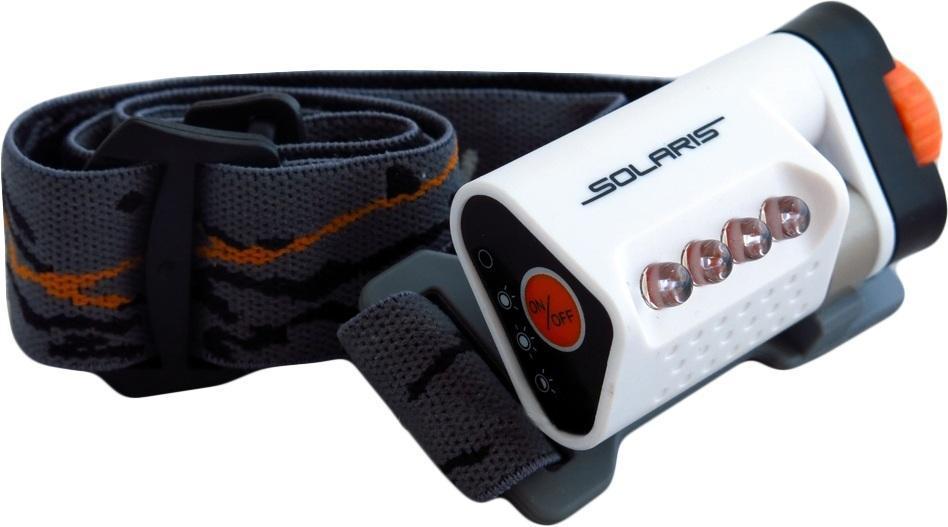 Фонарь светодиодный Solaris L40, налобный, цвет: белый7297Высококачественный налобный светодиодный фонарь Solaris L40 - Hi-Tech, сверхкомпактный, с сенсорным управлением.Корпус фонаря выполнен из противоударного ABS пластика.Водозащищенный — стандарт IPX6.Особенности:- фонарь снабжен 4-мя современным светодиодами NICHIA (Япония), с большой светоотдачей. Фонарь не имеет встроенного отражателя, светодиоды вынесены на переднюю поверхность фонаря. Благодаря этому достигается очень широкий угол рассеивания света и достаточная яркость. Очень удобен для работы на ближней дистанции.- фонарь легко установить основанием на ровную поверхность (можно снять оголовный ремень) и использовать в режиме кемпинговой лампы. Очень удобный режим в палатке, темном коридоре, дачной беседке и т.п. - фонарь управляется сенсорной кнопкой на боковой поверхности фонаря, что позволяет включать/выключать фонарь и переключать режимы работы легким прикосновением. Быстрота и легкость управления светом фонаря. Фонарь крепится к оголовному ремню с помощью кольцеобразного шарнира для регулировки по вертикальной оси. Крышка батарейного отсека запирается на винт, благодаря чему достигается водонепроницаемость. Встроенный стабилизатор напряжения.Комплектация:- Фонарь - 2 батарейки ААА Мощность светового потока: 20 люмен. Дальность эффективного излучения света: 20 метров.