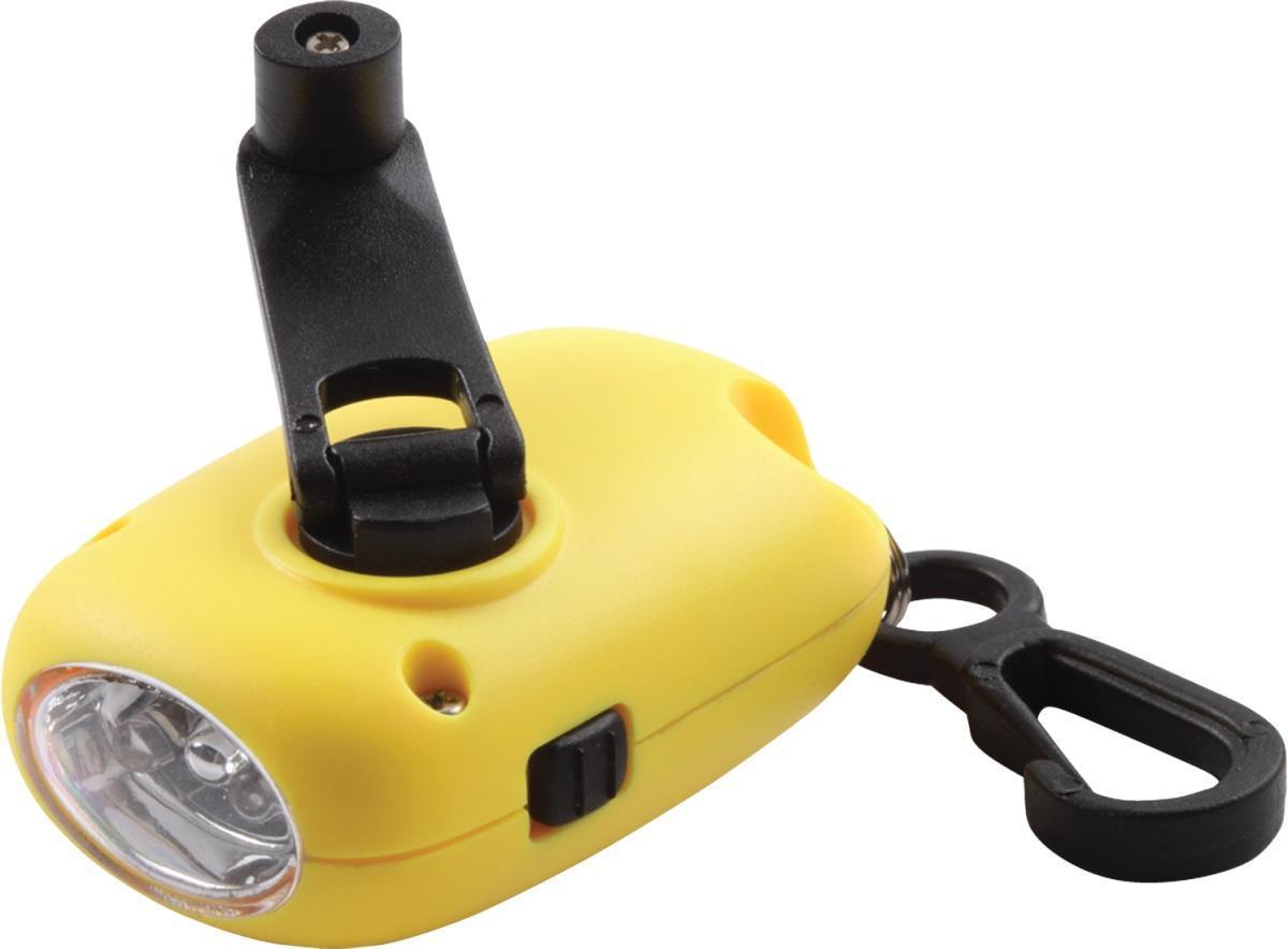 Динамо фонарь COGHLANS жёлтыйKOC-H19-LEDФонарь, для которого не нужны батареи. Два ярких современных светодиода. Компактный, можно использовать как брелок. Удобная кнопка включения и выключения. Полная зарядка достигается в течении 1 минуты. Время работы - 30 минут. Ресурс - не менее 500 циклов перезарядки. Прочный полимерный корпус. Карабин для крепления к одежде.