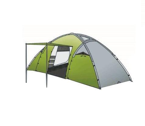 Палатка INDIANA DERNA 4, цвет: зеленый360300010Четырехместная палатка Индиана Derna 4 имеет две внутренние палатки между которых располагается просторный тамбур. Тент палатки выполнен из полиэстра с огнеупорной пропиткой. Хотя ткань тента имеет огнеупорную пропитку, внутри нельзя использовать открытый огонь, так как ткань при длительном контакте с источником огня подвержена загоранию. Все двери и окна снабжены антимоскитными сетками.