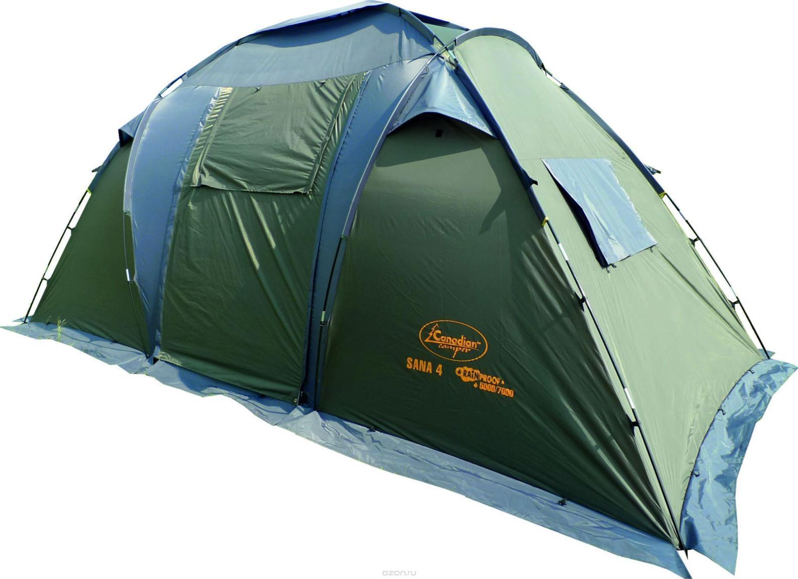 """Палатка CANADIAN CAMPER SANA 4 (цвет forest)30400024SANA 4 - двухспальная кемпинговая палатка. В отличие от предыдущих моделей, палатка Sana 4 имеет две спальные двухместные комнаты, которые разделены просторным центральным тамбуром. В одной из комнат Вы можете уложить спать детей, а в другой наслаждаться отдыхом со своей прекрасной половиной. Конструкция палатки позволяет оптимально организовать внутреннее пространство, так как возможна установка одного тента, одной или двух спален под ним. Семь вентиляционных окон и два входа с антимоскитными сетками по всей площади обеспечат комфорт даже в очень жаркий летний день. Дверь тамбура можно использовать как дополнительный козырек над входом. Для предотвращения проникновения насекомых палатка имеет """"юбку"""" по всему периметру. Не комплектуется полом для тамбура."""