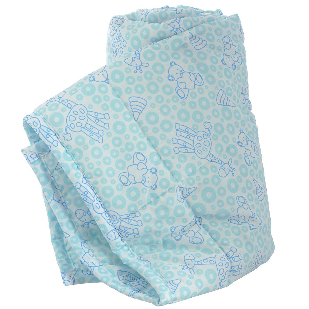 Одеяло детское Baby Nice Жирафы, стеганое, цвет: голубой, 110 см x 140 см. Q0412123Q0412123