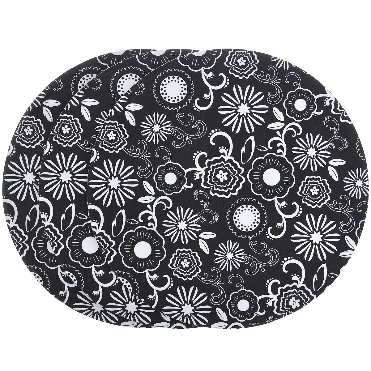 Основа для торта Wilton Белые цветы, диаметр 30,5 см, 3 шт54 009312Основа Wilton Белые цветы выполнена из гофрированного картона с жиронепроницаемым покрытием и оформлена белыми цветами. Предназначена для сервировки тортов, пицц, небольших праздничных угощений, закусок и т.п. Диаметр: 30,5 см. Толщина: 3 мм.