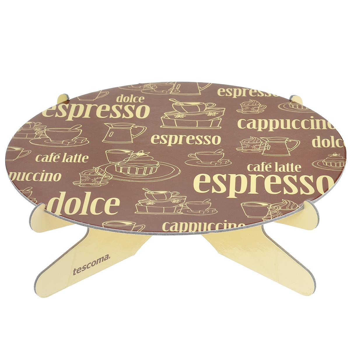 Подставка для торта Tescoma Delicia. Кофе, диаметр 28,5 см630735Подставка для торта Tescoma Delicia. Кофе идеально подходит для стильной сервировки тортов и десертов. Изготовлена из очень толстого картона, обработанного пластичной смазкой, что сохранит его от влажности. Двухсторонняя печать с красивым рисунком в виде кофейников и чашечек с кофе придает изделию изысканный внешний вид. Подставка оснащена специальным стендом-ножками, он очень прочный и устойчивый, легко собирается. Подставку можно использовать повторно. Промойте под проточной водой и протрите сухой тканью. Диаметр подставки: 28,5 см.