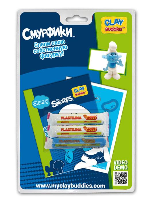 Giromax Набор для лепки Смурфики. Clumsy280044Набор для лепки Giromax Смурфики. Clumsy представляет собой сочетание моделирования и игры. Набор включает в себя: 3 плитки пластилина (голубой, белый), карточку с картонными деталями, 1 лист липучек, иллюстрированную книжку с инструкциями и заданиями. Входящая в набор пластилиновая масса разработана специально для детей, очень мягкая, приятно пахнет, ее не надо разминать перед лепкой.Пластилин быстро высыхает, не имеет запаха, не липнет к рукам и одежде, легко смывается.Используя пластилин и картонные формочки, малыш сможет самостоятельно вылепить фигурку любимого героя - Растяпы. Работа с пластилином развивает мелкую моторику пальцев малыша, пространственное воображение, фантазию.