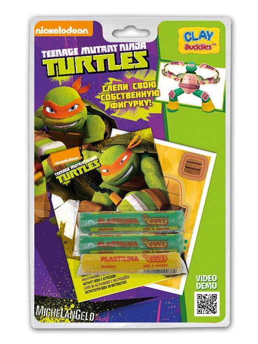Giromax Набор для лепки Teenage Mutant Ninja Turtles. Микеланджело72523WDНабор для лепки Giromax Teenage Mutant Ninja Turtles представляет собой сочетание моделирования и игры. Набор включает в себя: 3 плитки пластилина (зеленый, желтый), карточку с картонными деталями, 1 лист липучек, иллюстрированную книжку с инструкциями и заданиями. Входящая в набор пластилиновая масса разработана специально для детей, очень мягкая, приятно пахнет, ее не надо разминать перед лепкой.Пластилин быстро высыхает, не имеет запаха, не липнет к рукам и одежде, легко смывается.Используя пластилин и картонные формочки, малыш сможет самостоятельно вылепить фигурку любимого героя - Микеланджело. Работа с пластилином развивает мелкую моторику пальцев малыша, пространственное воображение, фантазию.