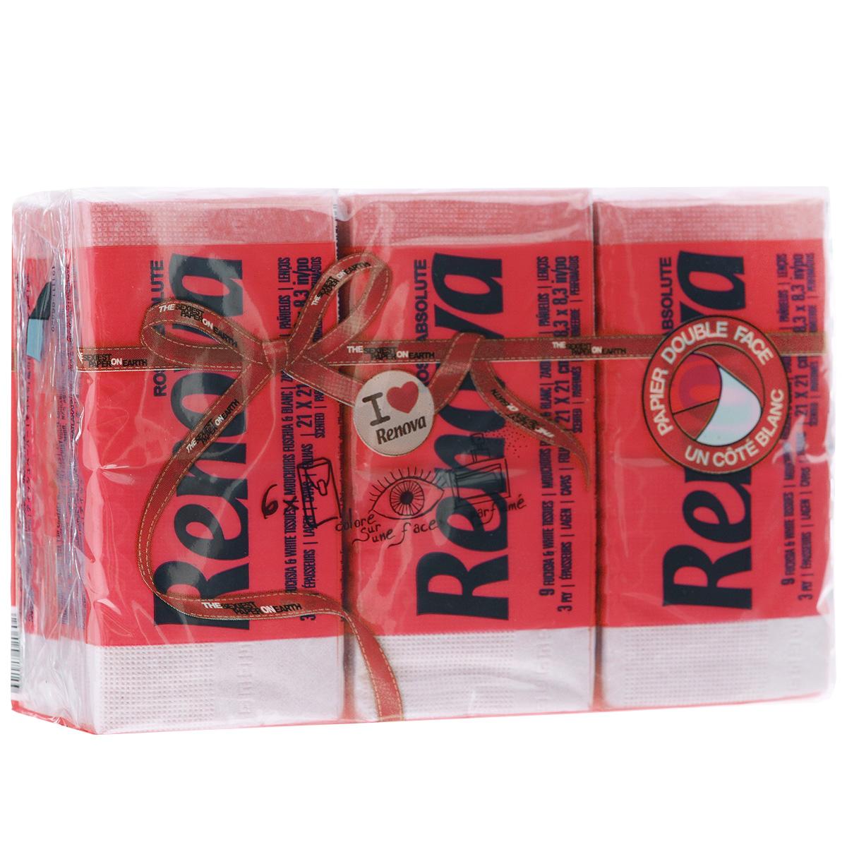 Платочки бумажные Renova Strawberry Ice Cream, ароматизированные, трехслойные, цвет: красный, 6 пачек5010777139655Бумажные гигиенические платочки Renova Strawberry Ice Cream,изготовленные из 100% натуральной целлюлозы, подходят для детей и взрослых. Они обладают уникальными свойствами, так как всегда остаются мягкими на ощупь, прочными и отлично впитывающими влагу и могут быть пригодными в любой ситуации. Бумажные платочки Renova Strawberry Ice Cream имеют сладкий аромат клубники. Удобная небольшая упаковка позволяет носить платочки в кармане.Количество слоев: 3.Размер листа: 21 см х 21 см.Количество пачек: 6 шт.Количество платочков в каждой пачке: 9 шт.Португальская компания Renova является ведущим разработчиком новейших технологий производства, нового стиля и направления на рынке гигиенической продукции. Современный дизайн и высочайшее качество, дерматологический контроль - это то, что выделяет компанию Renova среди других производителей бумажной санитарно-гигиенической продукции.