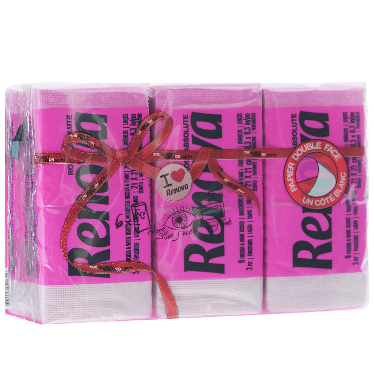 Платочки бумажные Renova Rose Absolute, ароматизированные, трехслойные, цвет: фуксия, 6 пачек200066553Бумажные гигиенические платочки Renova Rose Absolute,изготовленные из 100% натуральной целлюлозы, подходят для детей и взрослых. Они обладают уникальными свойствами, так как всегда остаются мягкими на ощупь, прочными и отлично впитывающими влагу и могут быть пригодными в любой ситуации. Бумажные платочки Renova Rose Absolute имеют нежный аромат розы.Удобная небольшая упаковка позволяет носить платочки в кармане.Количество слоев: 3.Размер листа: 21 см х 21 см.Количество пачек: 6 шт.Количество платочков в каждой пачке: 9 шт. Португальская компания Renova является ведущим разработчиком новейших технологий производства, нового стиля и направления на рынке гигиенической продукции. Современный дизайн и высочайшее качество, дерматологический контроль - это то, что выделяет компанию Renova среди других производителей бумажной санитарно-гигиенической продукции.