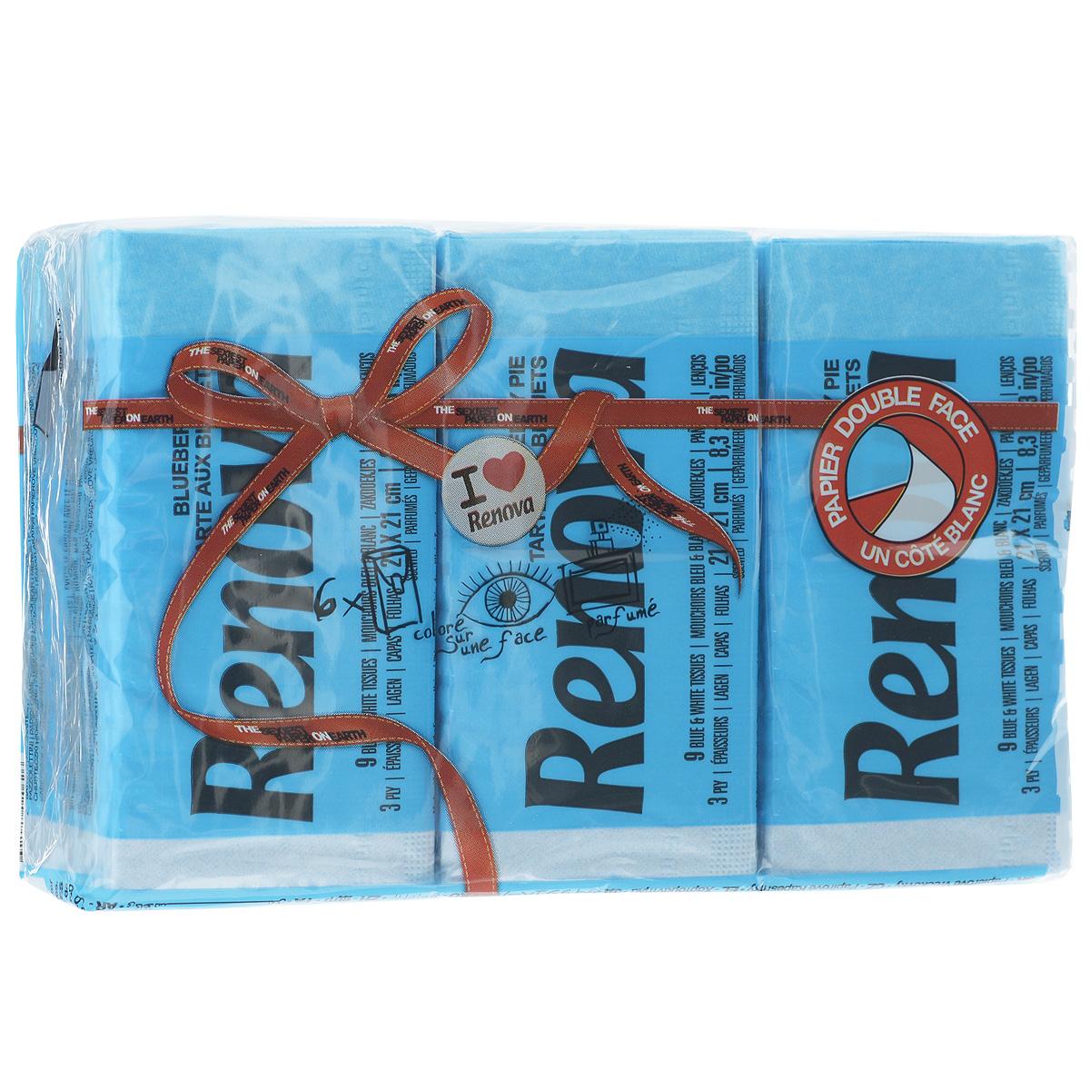 Платочки бумажные Renova Blueberry Pie, ароматизированные, трехслойные, цвет: голубой, 6 пачек1092018Бумажные гигиенические платочки Renova Blueberry Pie,изготовленные из 100% натуральной целлюлозы, подходят для детей и взрослых. Они обладают уникальными свойствами, так как всегда остаются мягкими на ощупь, прочными и отлично впитывающими влагу и могут быть пригодными в любой ситуации. Бумажные платочки Renova Blueberry Pie имеют аромат черники. Удобная небольшая упаковка позволяет носить платочки в кармане.Количество слоев: 3.Размер листа: 21 см х 21 см.Количество пачек: 6 шт.Количество платочков в каждой пачке: 9 шт.Португальская компания Renova является ведущим разработчиком новейших технологий производства, нового стиля и направления на рынке гигиенической продукции. Современный дизайн и высочайшее качество, дерматологический контроль - это то, что выделяет компанию Renova среди других производителей бумажной санитарно-гигиенической продукции.