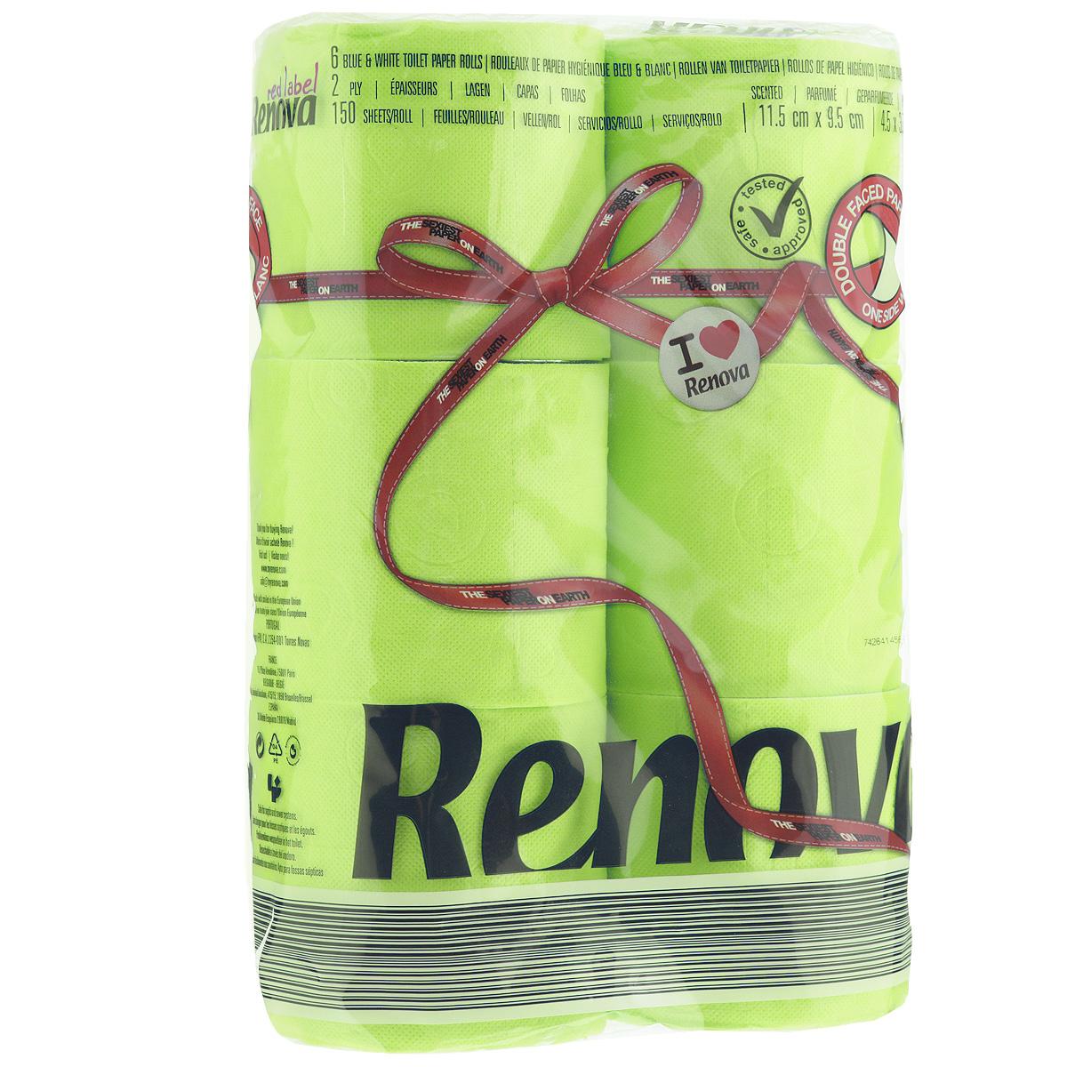 Туалетная бумага Renova, двухслойная, ароматизированная, цвет: зеленый, 6 рулонов787502Туалетная бумага Renova изготовлена по новейшей технологии из 100% ароматизированной целлюлозы, благодаря чему она имеет тонкий аромат, очень мягкая, нежная, но в тоже время прочная. Эксклюзивная двухсторонняя туалетная бумага Renova  экстрамодного цвета, придаст вашему туалету оригинальность.Состав: 100% ароматизированная целлюлоза. Количество листов: 150 шт.Количество слоев: 2.Размер листа: 11,5 см х 9,5 см.Количество рулонов: 6 шт.Португальская компания Renova является ведущим разработчиком новейших технологий производства, нового стиля и направления на рынке гигиенической продукции. Современный дизайн и высочайшее качество, дерматологический контроль - это то, что выделяет компанию Renova среди других производителей бумажной санитарно-гигиенической продукции.