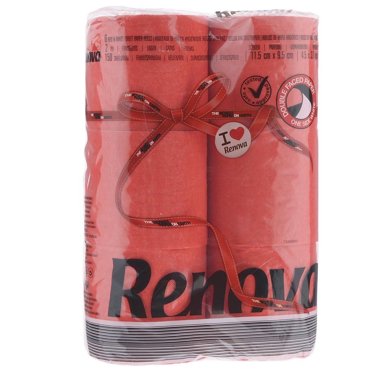 Туалетная бумага Renova, двухслойная, ароматизированная, цвет: красный, 6 рулонов391602Туалетная бумага Renova изготовлена по новейшей технологии из 100% ароматизированной целлюлозы, благодаря чему она имеет тонкий аромат, очень мягкая, нежная, но в тоже время прочная. Эксклюзивная двухсторонняя туалетная бумага Renova  экстрамодного цвета, придаст вашему туалету оригинальность.Состав: 100% ароматизированная целлюлоза. Количество листов: 150 шт.Количество слоев: 2.Размер листа: 11,5 см х 9,5 см.Количество рулонов: 6 шт.Португальская компания Renova является ведущим разработчиком новейших технологий производства, нового стиля и направления на рынке гигиенической продукции. Современный дизайн и высочайшее качество, дерматологический контроль - это то, что выделяет компанию Renova среди других производителей бумажной санитарно-гигиенической продукции.