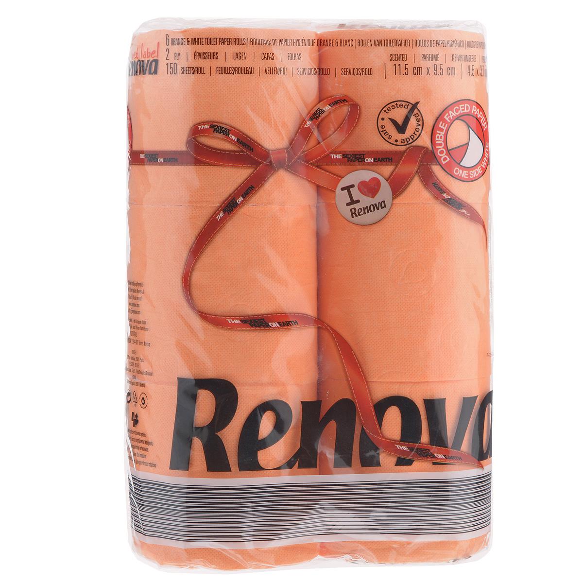 Туалетная бумага Renova, двухслойная, ароматизированная, цвет: оранжевый, 6 рулонов67742Туалетная бумага Renova изготовлена по новейшей технологии из 100% ароматизированной целлюлозы, благодаря чему она имеет тонкий аромат, очень мягкая, нежная, но в тоже время прочная. Эксклюзивная двухсторонняя туалетная бумага Renova  экстрамодного цвета, придаст вашему туалету оригинальность.Состав: 100% ароматизированная целлюлоза. Количество листов: 150 шт.Количество слоев: 2.Размер листа: 11,5 см х 9,5 см.Количество рулонов: 6 шт.Португальская компания Renova является ведущим разработчиком новейших технологий производства, нового стиля и направления на рынке гигиенической продукции. Современный дизайн и высочайшее качество, дерматологический контроль - это то, что выделяет компанию Renova среди других производителей бумажной санитарно-гигиенической продукции.