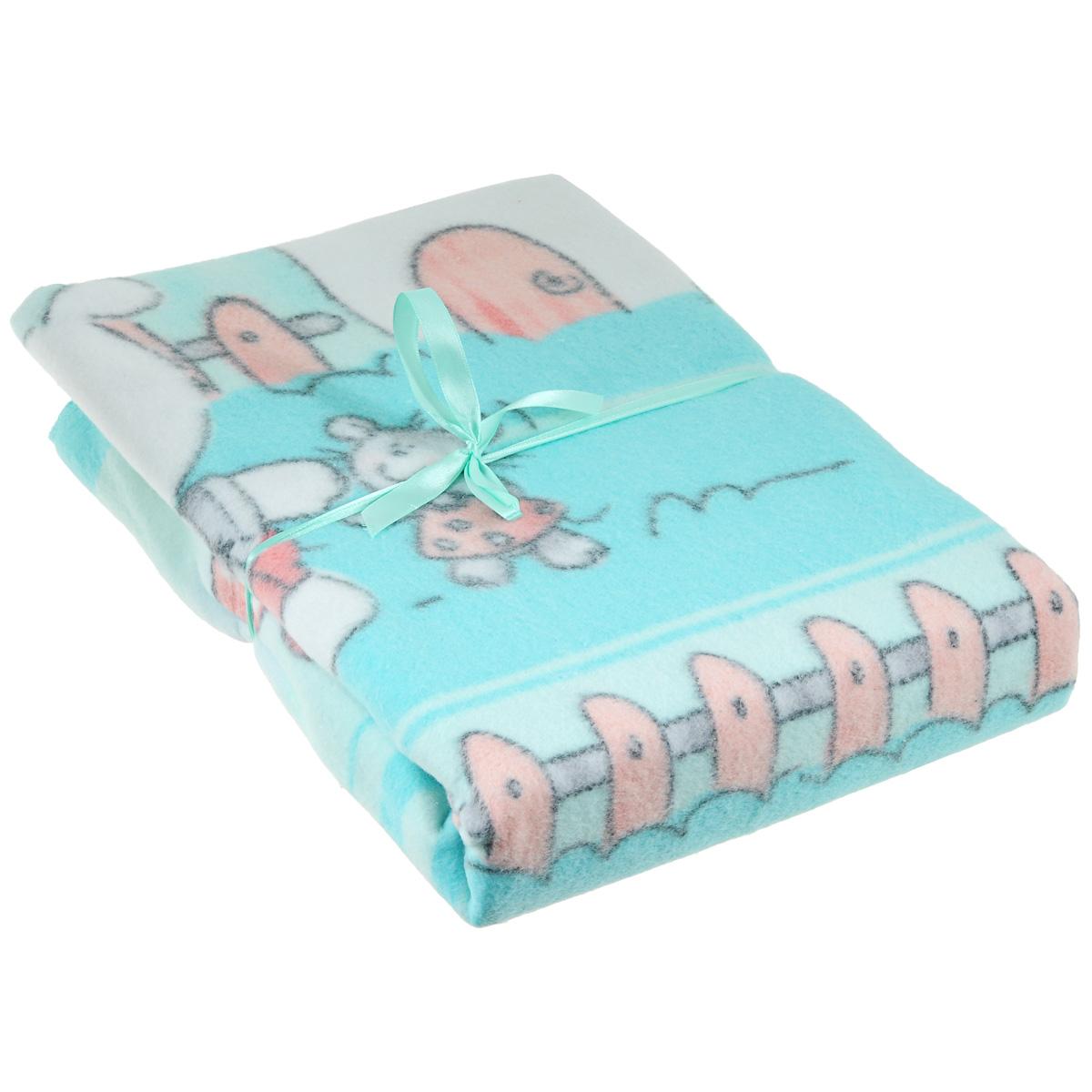 Одеяло детское Baby Nice Друзья на отдыхе, байковое, цвет: голубой, 100 см x 140 смD311511