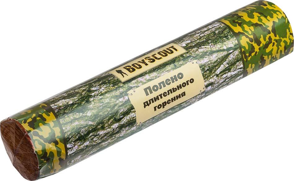 Полено длительного горения Boyscout, 6,5 см х 33 см115510Полено длительного горения Boyscout предназначено для использования в домашних условиях, на пикнике, в печах различного типа, каминах, открытых очагах. Легко и быстро воспламеняется. Не имеет запаха. Горит на протяжении 50-60 минут. При сгорании не искрит. При горении выделяется в несколько раз меньше дыма, угара, тепла и креозота по сравнению с другими поленьями.Изготовлено из вротично переработанной древесины с добавлением углеводорода.