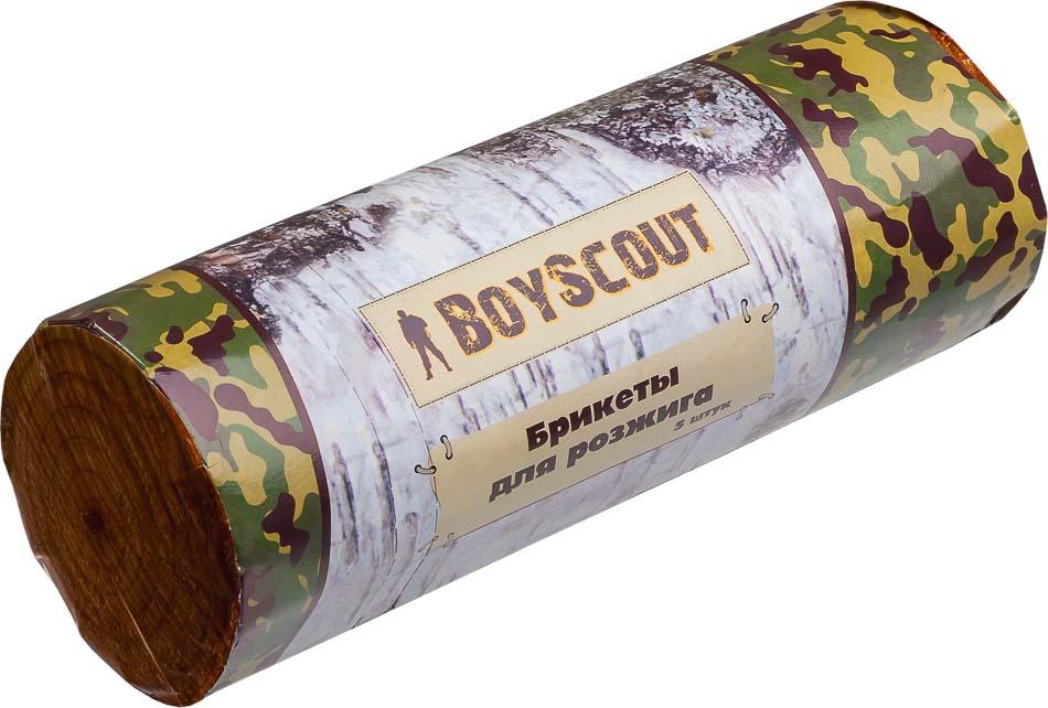 Брикеты для розжига Boyscout, 5 шт 6104200000927Брикеты Boyscout идеально подходят для разжигания огня в камине, печке, гриле, костре и любом другом месте. Непрерывно горят в течении 25 минут. Позволяют без труда разжечь огонь в сырую ветреную погоду. Изготовлены из вторично переработанной древесины с добавлением углеводородов.Температура горения: 800°С