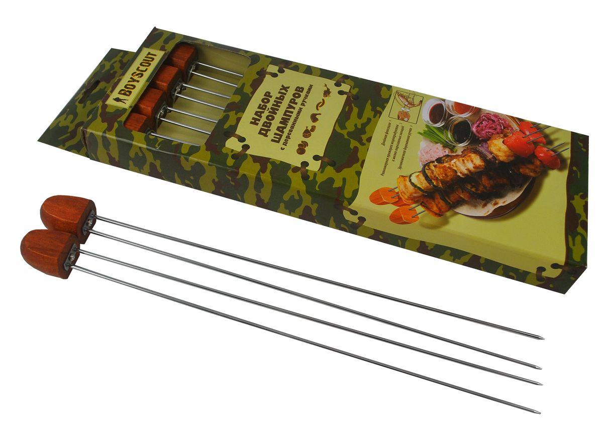 Шампуры двойные Boyscout, с деревянной ручкой, 33 см, 4 штХот ШейперсДвойные шампуры Boyscout изготовлены из высококачественной стали с пищевым хромированным покрытием. Шампуры идеально подходят для приготовления шашлыков из мяса, рыбы, птицы, морепродуктов и овощей. Деревянные ручки защищают руки от ожогов. Длина: 33 см.