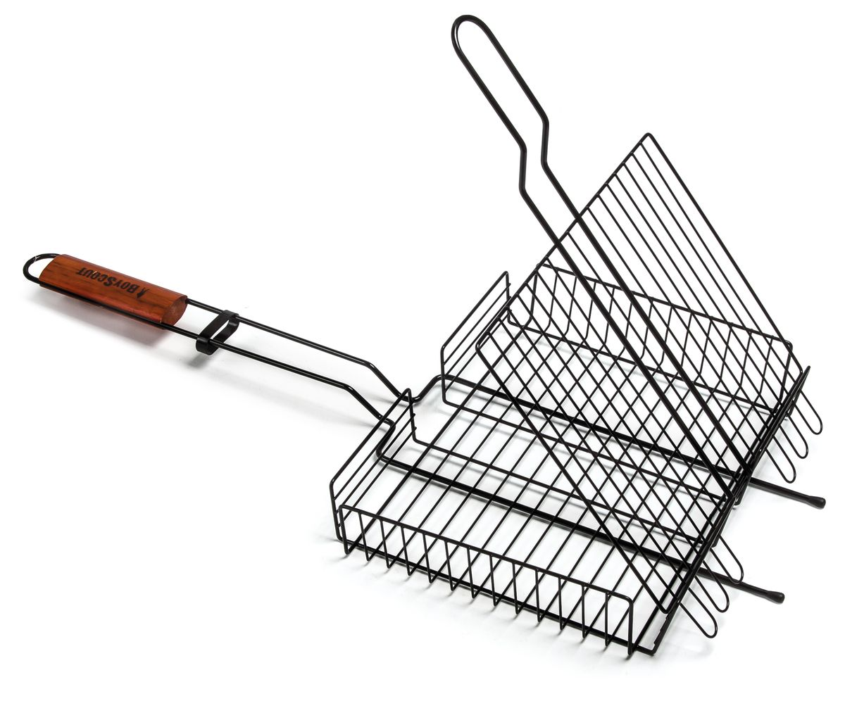 Решетка-гриль Boyscout, универсальная, с антипригарным покрытием, 65 х 30 х 6 см115510Решетка-гриль Boyscout предназначена для приготовления пищи на открытом воздухе. Изготовлена из высококачественной стали с антипригарным покрытием. Решетка имеет одну ручку с деревянной вставкой, которая предохраняет руки от ожогов.Приготовление вкусных блюд из рыбы, мяса или птицы на пикнике становится еще более быстрым и удобным с использованием решетки-гриль. В комплекте - веер для розжига, выполненный из плотного картона.Размер рабочей части: 25 см х 31 см х 6 см.Длина ручки: 38 смРазмер веера: 21 см х 15 см х 0,2 см.Общий размер решетки-гриля: 65 см х 30 см х 6 см.