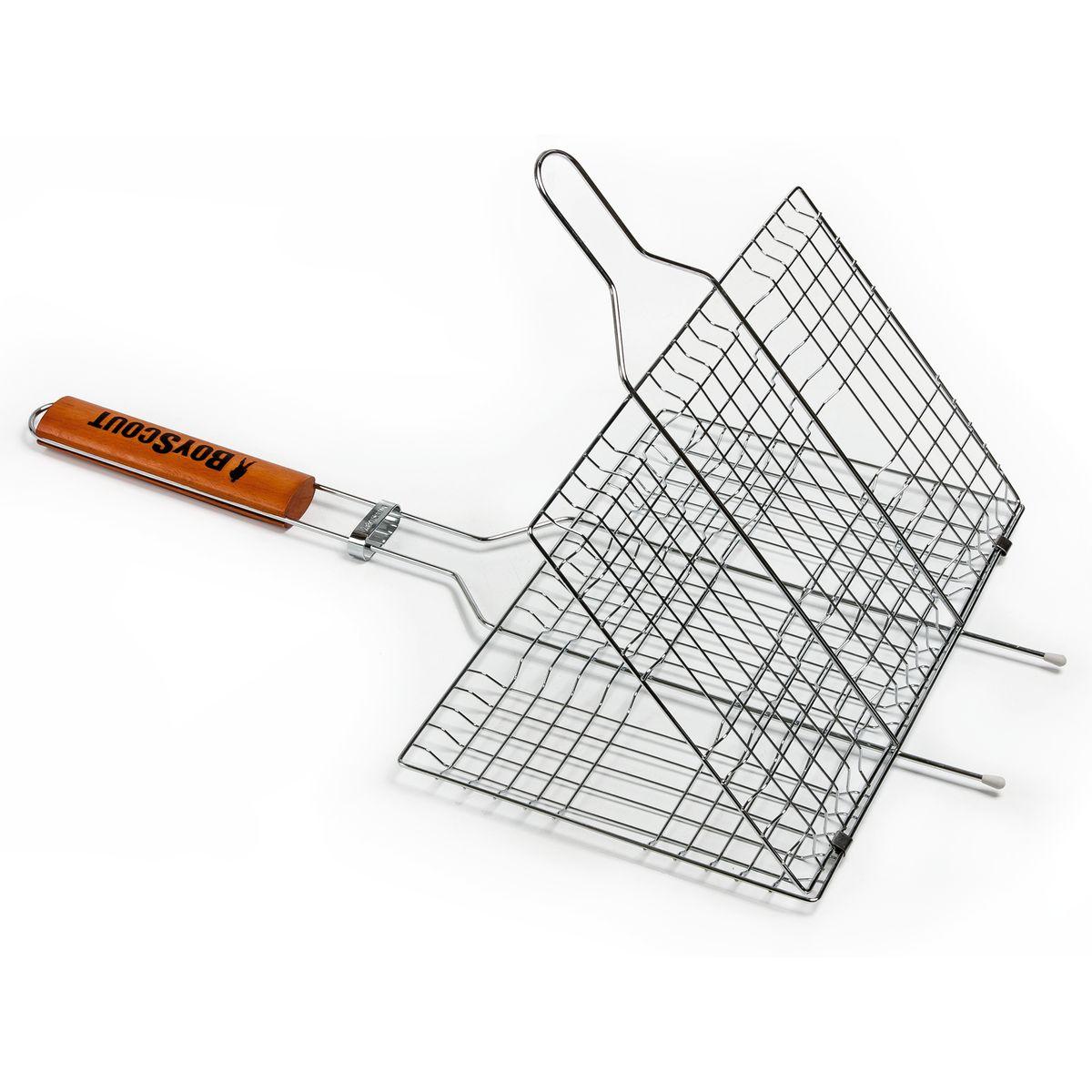 Решетка-гриль Boyscout, универсальная, 59 х 33 х 2,5 см + ПОДАРОК: Веер для розжига Boyscout391602Решетка-гриль Boyscout предназначена для приготовления пищи на открытом воздухе. Изготовлена из высококачественной стали с пищевым хромированным покрытием. Решетка имеет деревянную вставку на ручке, предохраняющую руки от ожогов и позволяющую без труда перевернуть решетку. Надежное кольцо-фиксатор гарантирует, что решетка не откроется, и продукты не выпадут.Приготовление вкусных блюд из рыбы, мяса или птицы на пикнике становится еще более быстрым и удобным с использованием решетки-гриль. К решетке прилагается подарок - веер для розжига, выполненный из плотного картона.Размер рабочей поверхности: 33 см х 22 см х 2,5 см.Длина ручки: 32 см.Размер веера: 21 см х 15 см х 0,5 см.