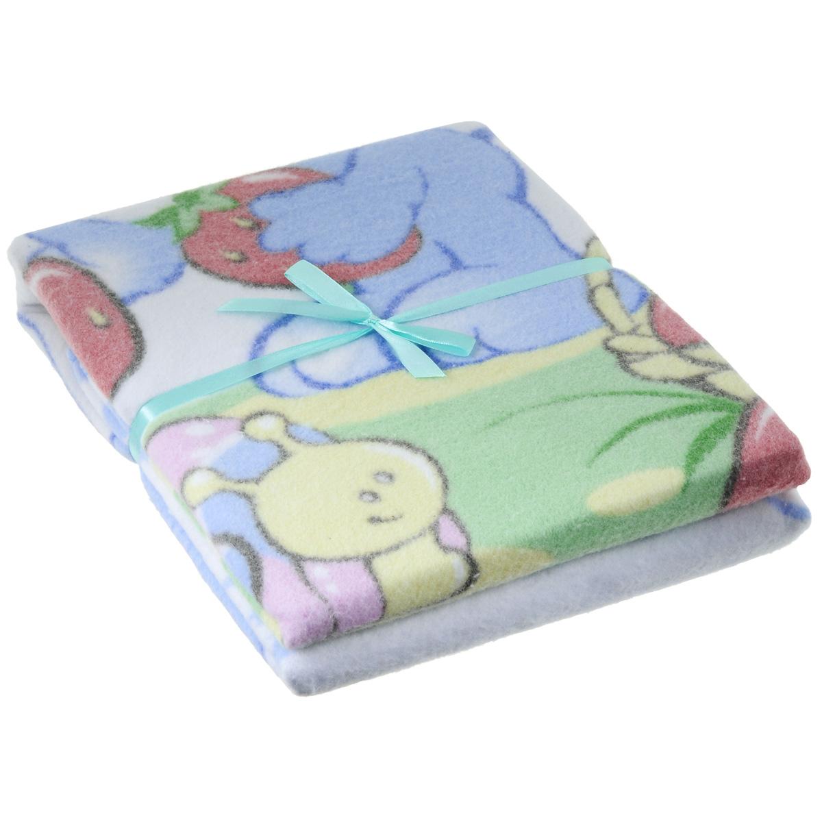 Одеяло детское Baby Nice Земляничная поляна, байковое, цвет: голубой, 85 см x 115 смD111511