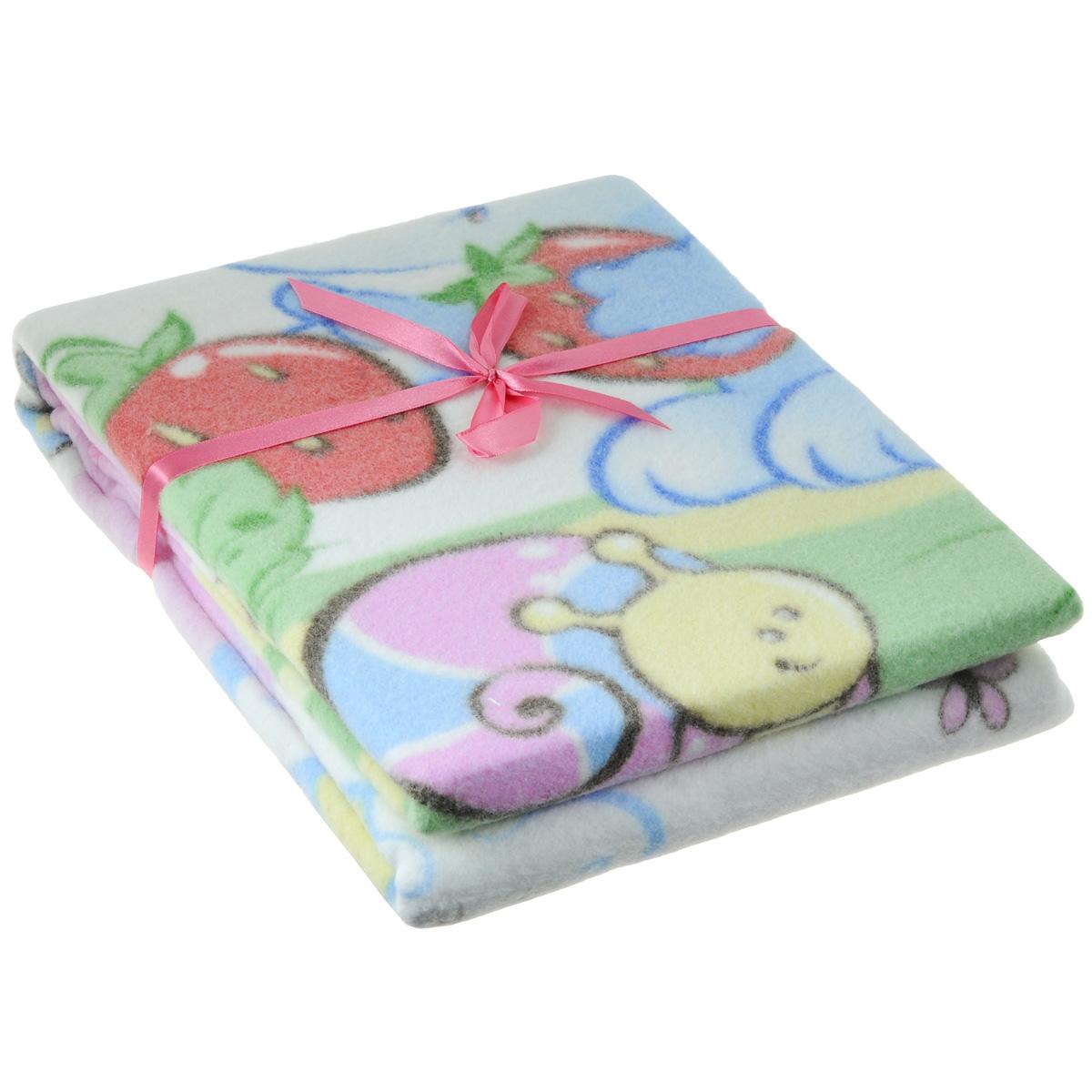 Одеяло детское Baby Nice Земляничная поляна, байковое, цвет: розовый, 85 см x 115 смD111511
