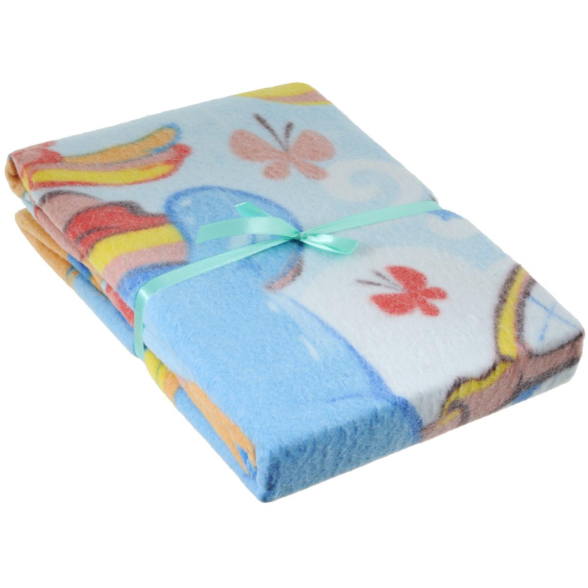 Одеяло детское Baby Nice Бегемот и попугай, байковое, цвет: голубой, 100 см x 140 смD311511