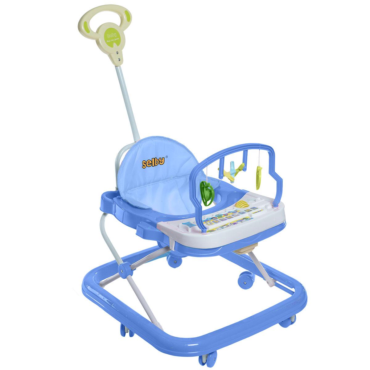 """Ходунки """"Selby"""" предназначены для развития ребенка в возрасте от 6 месяцев до 1 года, когда он начинает ходить. Изделие выполнено из высококачественного прочного пластика, безопасного для самых маленьких. Ходунки имеют несколько уровней регулировки по высоте в зависимости от роста малыша. Съемное сиденье имеет мягкую обивку. Специальный игровой столик с подвесными фигурками и музыкальной игрушкой поможет малышу отдохнуть и поиграть, когда он устанет передвигаться. Шесть колес вращаются на 360°, что позволяет ребенку двигаться в любом направлении. Дополнительно к ходункам в комплект входит родительская ручка, при помощи которой можно катать ребенка. Удобная система складывания. Необходимо докупить 2 батарейки типа АА для игрового столика (в комплект не входят)."""