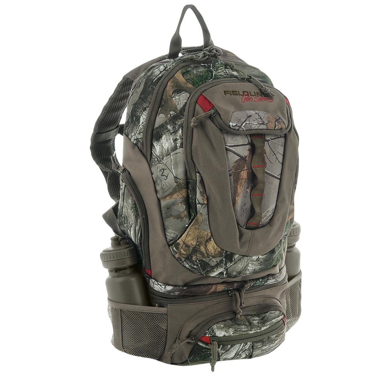 Рюкзак Fieldline Big Game Backpack540100004Охотничий рюкзак Fieldline Big Game Backpack для сложных маршрутов, выполненный из прочной, малошуршащей ткани. Регулируемая подвесная система с вентилируемой сеткой обеспечивает максимальную циркуляцию воздуха. Рюкзак имеет 1 вместительное отделение на застежке-молнии с 2 бегунками. Спереди имеется 2 кармана на застежке-молнии. По бокам также расположено 2 кармана на застежке-молнии. Нижняя часть рюкзака может быть отсоединена и использована как поясная сумка. Она имеет 1 вместительное отделение на застежке-молнии. Спереди имеется 2 кармана на застежке-молнии. По бокам расположено 2 сетчатых кармана для хранения бутылок с водой (2 бутылки в комплекте).