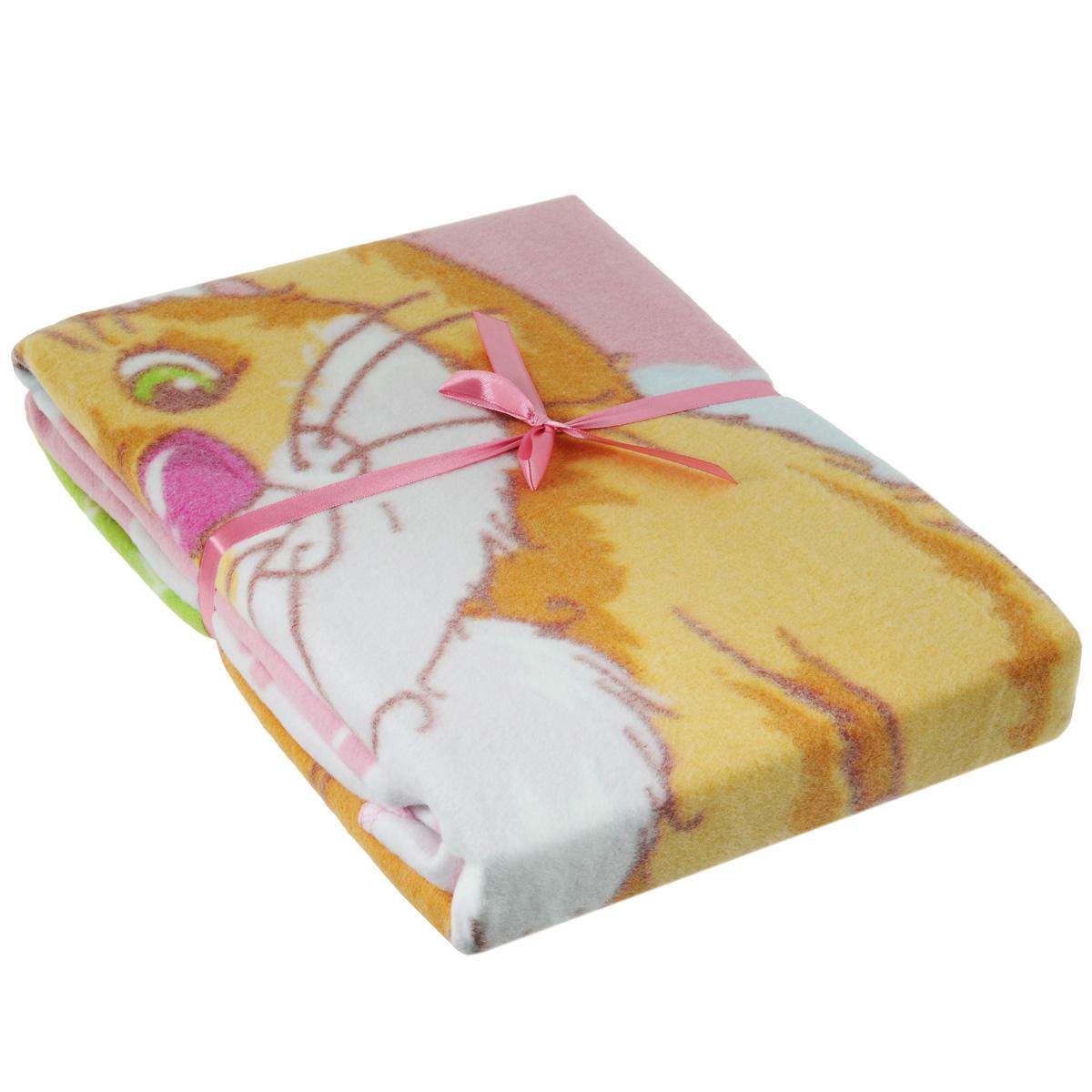 Одеяло детское Baby Nice Котенок, байковое, цвет: розовый, 100 см x 140 смD311511