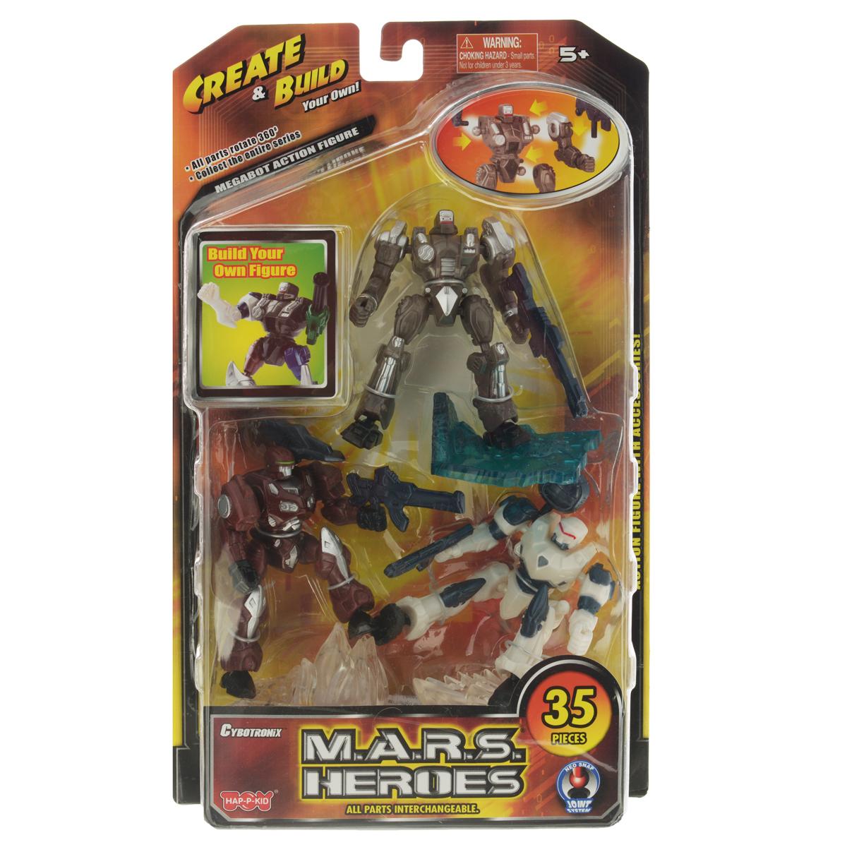 """Игровой набор """"Герои Марса"""" состоит из трех роботов, мощного оружия для них и четырех подставок. Благодаря тому, что конечности робота прикреплены к телу на шарнирах, вы сможете без труда поворачивать их руки и ноги в разные стороны. Каждое из пяти оружий, входящих в комплект, легко фиксируется в руках робота. Теперь у вас появилась возможность собрать свою коллекцию Героев Марса. Компания """"Happy Kid Toy Group Ltd"""" была основана более 20 лет назад, сегодня она известна под брэндом """"HAP-P-KID®"""", благодаря которому заслужила отличную репутацию в отрасли производства детских игрушек. """"Happy Kid Toy Group Ltd"""" один из ведущих производителей и импортеров высококачественных игрушек из пластмассы. Продукция компании яркая, инновационная и недорогая, отвечает запросам покупателей и соответствует стандартам качества и безопасности. """"Торговый Дом """"Гулливер и Ко"""" является эксклюзивным дистрибьютором и осуществляет поставки продукции """"Happy Kid Toy"""" на российский..."""