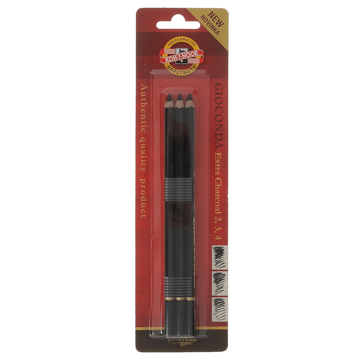 """Набор угольных карандашей Koh-i-Noor """"Gioconda"""" предназначен для рисования. В наборе представлены карандаши трех уровней мягкости - 2, 3, 4. Карандаши хорошо ложатся на бумагу и растушевываются. Отличный инструмент для набросков и зарисовок. Длина карандашей: 17,5 см."""