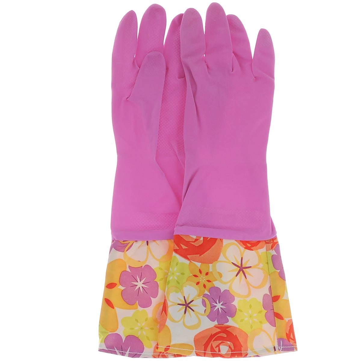 Перчатки хозяйственные Celesta, с удлиненными манжетами, цвет: розовый. Размер S58159Перчатки Celesta незаменимы при различных хозяйственных работах. Внутреннее хлопковое покрытие обеспечивает комфорт рукам и защищает от раздражений. Высокие манжеты препятствуют попаданию воды и грязи. Благодаря рифленой поверхности удобно удерживать мокрые предметы.Уважаемые клиенты!Обращаем ваше внимание на возможные цветовые варьирования в манжете. Поставка возможна в зависимости от наличия на складе.