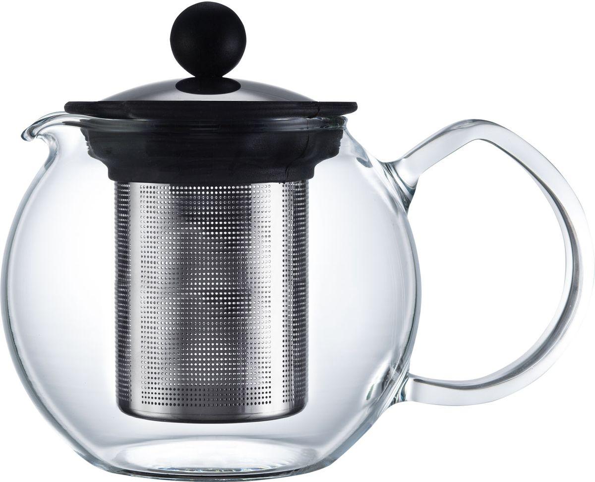 Чайник заварочный Walmer Baron, с фильтром, 500 мл68/5/3Заварочный чайник Walmer Baron, изготовленный из термостойкого стекла, предоставит вам все необходимые возможности для успешного заваривания чая. Чай в таком чайнике дольше остается горячим, а полезные и ароматические вещества полностью сохраняются в напитке. Чайник оснащен фильтром и крышкой из углеродистой стали. Сверху на фильтре имеется силиконовая накладка для надежной фиксации.Простой и удобный чайник поможет вам приготовить крепкий, ароматный чай.Нельзя мыть в посудомоечной машине. Не использовать в микроволновой печи.Диаметр чайника (по верхнему краю): 7,5 см.Высота чайника (без учета крышки): 10,5 см.Высота фильтра: 9 см.