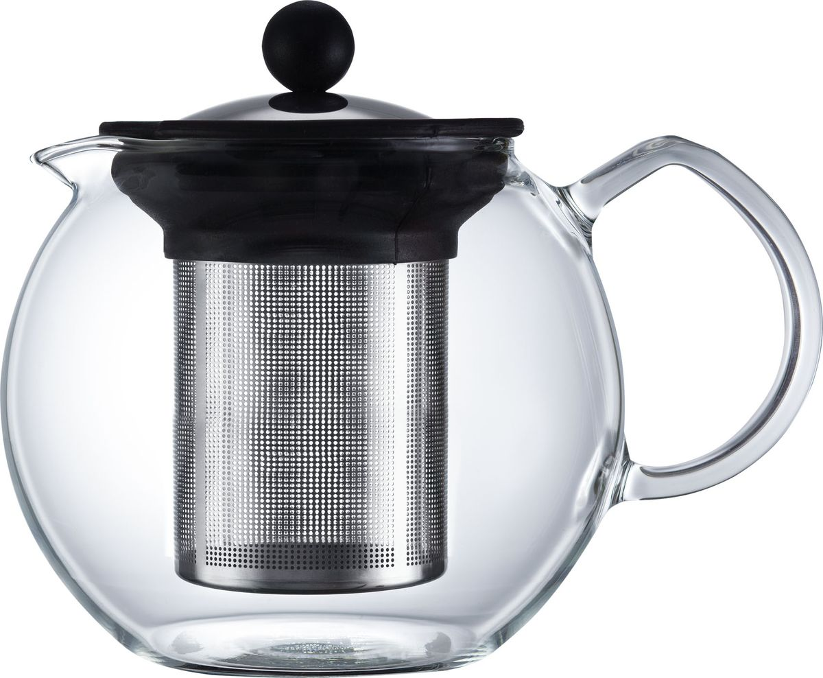 Чайник заварочный Walmer Baron, с фильтром, 1 л391602Заварочный чайник Walmer Baron, изготовленный из термостойкого стекла, предоставит вам все необходимые возможности для успешного заваривания чая. Чай в таком чайнике дольше остается горячим, а полезные и ароматические вещества полностью сохраняются в напитке. Чайник оснащен фильтром и крышкой из углеродистой стали. Сверху на фильтре имеется силиконовая накладка для надежной фиксации.Простой и удобный чайник поможет вам приготовить крепкий, ароматный чай.Нельзя мыть в посудомоечной машине. Не использовать в микроволновой печи.Диаметр чайника (по верхнему краю): 9 см.Высота чайника (без учета крышки): 12 см.Высота фильтра: 10,5 см.