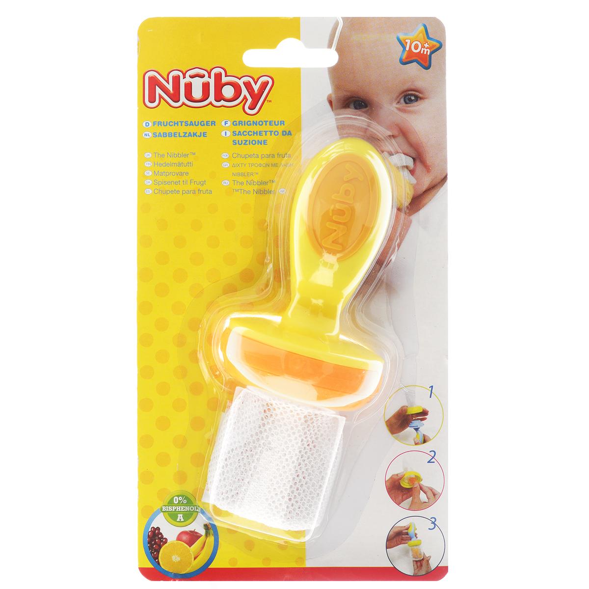 """Ниблер """"Nuby"""" создан специально для безопасного кормления фруктами и овощами, соответствующими возрасту ребенка. Ваш малыш будет наслаждаться натуральным вкусом, структурой и высоким качеством свежих продуктов безопасно, без риска удушья - а вы получите душевное спокойствие! Кроме того, ниблер оснащен надежной системой запирания. Благодаря простой конструкции сеточки этот удобный при прорезывании зубов прибор позволяет младенцам грызть продукты самостоятельно и безопасно. Достаточно просто поместить кусочек фруктов, овощей или даже мяса в сетчатый мешочек и закрыть его. Ребенок может жевать, грызть и сосать продукт: через сеточку проходят только очень маленькие частички, что снижает риск подавиться. Благодаря ручке ребенку легко его держать и делать первые шаги к самостоятельному питанию. Также ниблер служит альтернативой прорезывателям для зубов. Можно мыть в посудомоечной машине на верхней полке. Не использовать в СВЧ, не кипятить и не подвергать..."""