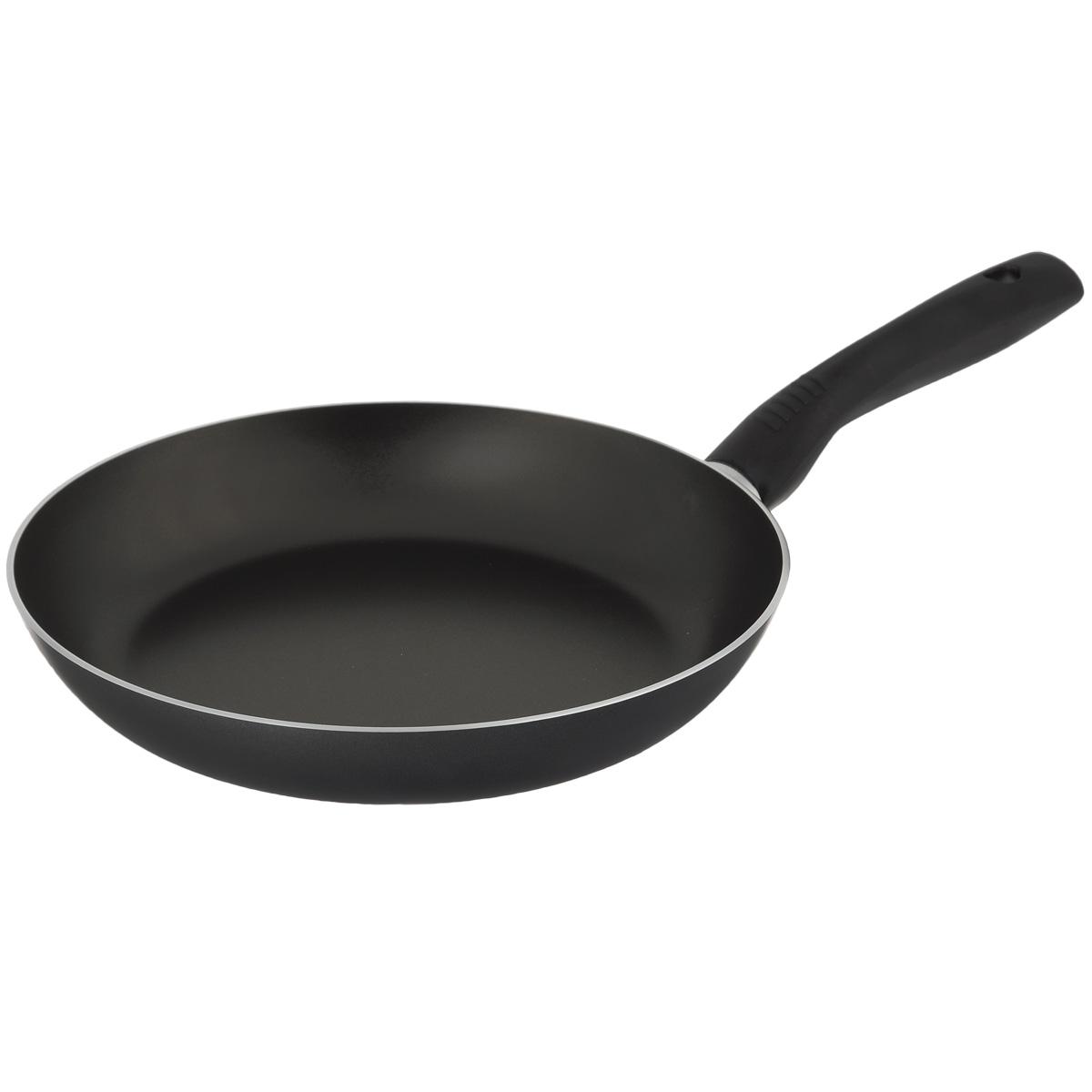 Сковорода TVS Basilico, с антипригарным покрытием, цвет: черный. Диаметр 28 см сковорода wok tvs basilico d 27 см 10501