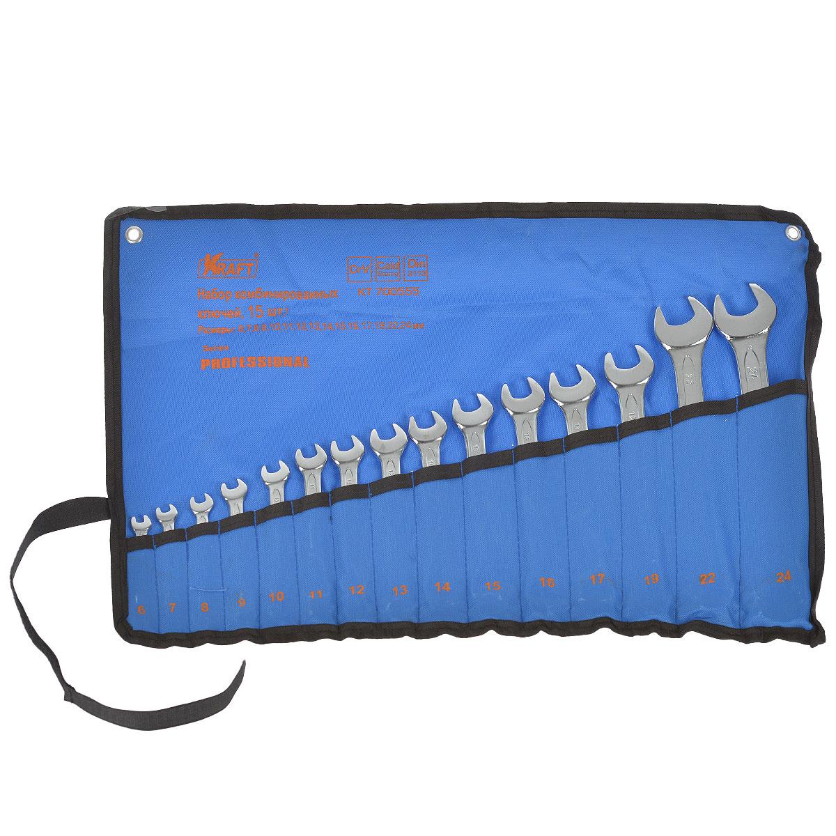 Набор комбинированных гаечных ключей Kraft Professional, 6 мм - 24 мм, 15 штКТ700555Набор комбинированных гаечных ключей Kraft Professional предназначен для профессионального применения в решении сантехнических, строительных и авторемонтных задач, а также для бытового использования. Ключи изготовлены из хромованадиевой стали.Размеры ключей, входящих в набор: 6 мм, 7 мм, 8 мм, 9 мм, 10 мм, 11 мм, 12 мм, 13 мм, 14 мм, 15 мм, 16 мм, 17 мм, 19 мм, 22 мм, 24 мм. Комбинированный ключ представляет собой соединение рожкового и накидного гаечных ключей. Обе стороны комбинированного ключа имеют одинаковый размер. Комбинированный ключ - это необходимый предмет в каждом доме.