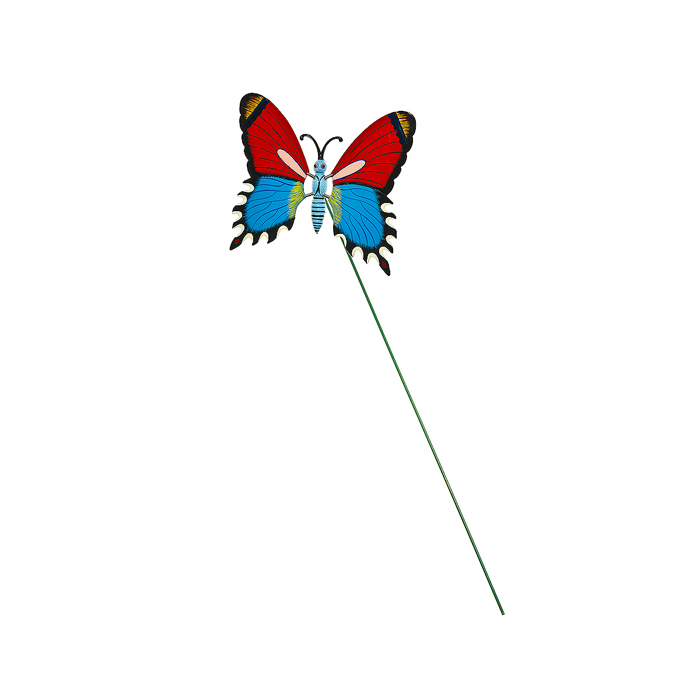 Украшение на ножке Village People Бабочка, цвет: красный, синий, высота 42 смZ-0307Украшение на ножке Village People Бабочка поможет вам дополнить экстерьер красивой и яркой деталью. Такое украшение очень просто вставляется в землю с помощью длинной ножки, оно отлично переносит любые погодные условия и прослужит долгое время. Идеально подходит для декорирования садового участка, грядок, клумб, домашних цветов в горшках, а также для поддержки и правильного роста декоративных растений.Крылья бабочки прикреплены к тельцу пружинками, и при движении бабочки крылышки начинают шевелиться. Размер бабочки: 17 см х 16 см х 10 см. Высота ножки: 42 см.