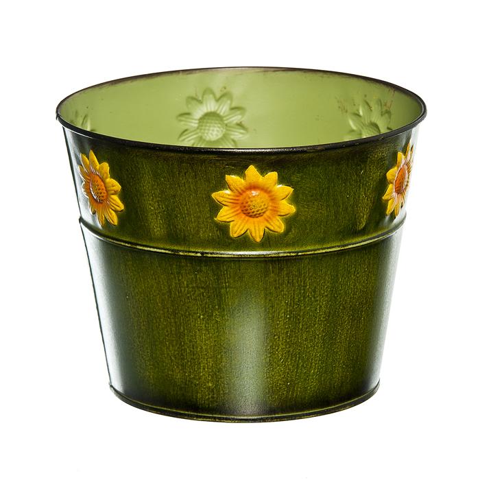 зеленый Декоративное кашпо под цветы Цветок солнца в асс, o(верхний-18,3; нижний-13,5) см х 14,5см, металл/40/4. 67063_1S03301004Декоративное кашпо под цветы Цветок солнца предназначено для установки внутрь цветочных горшков с растениями. Благодаря такому кашпо вы сможете украсить вашу комнату, офис, сади другие места. зеленый